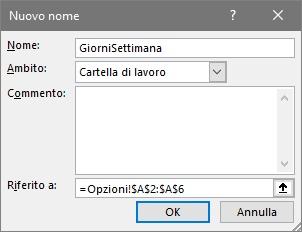 Come creare un elenco a discesa con Excel - GiorniSettimana