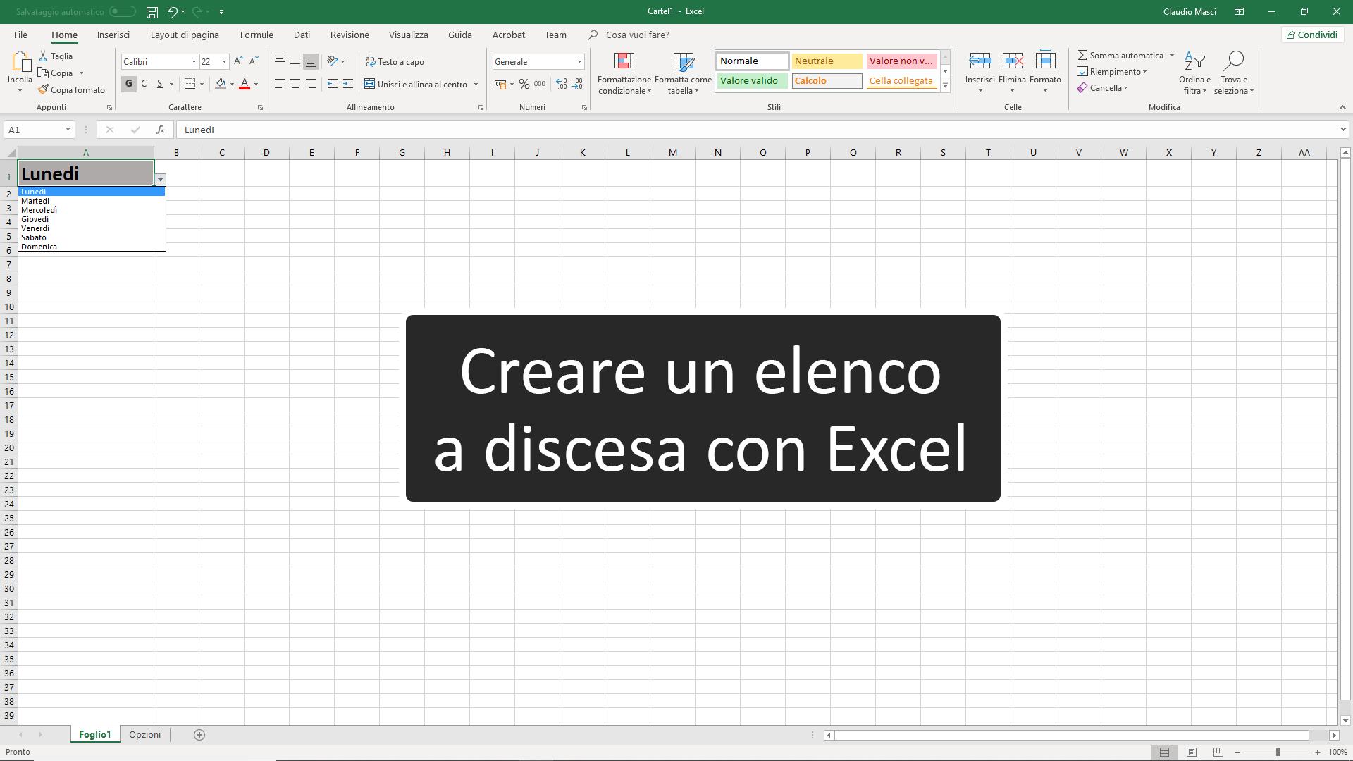 Come creare un elenco a discesa con Excel
