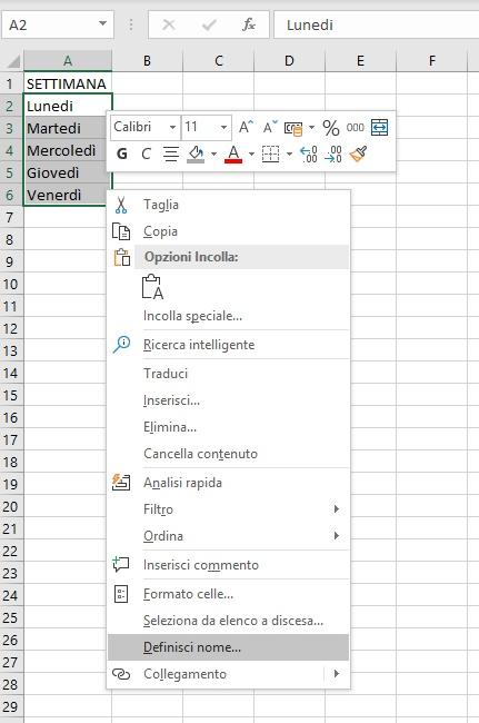 Elenco a discesa Excel - Definisci Nome