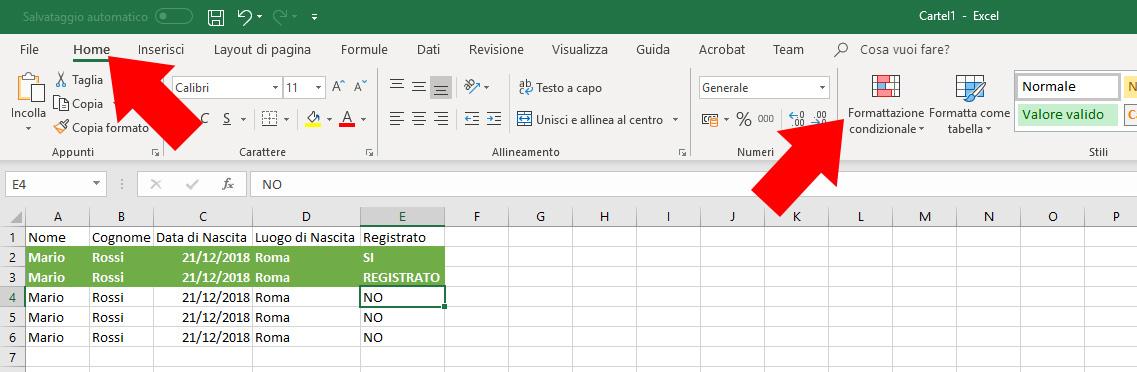 Excel - Formattazione Condizionale