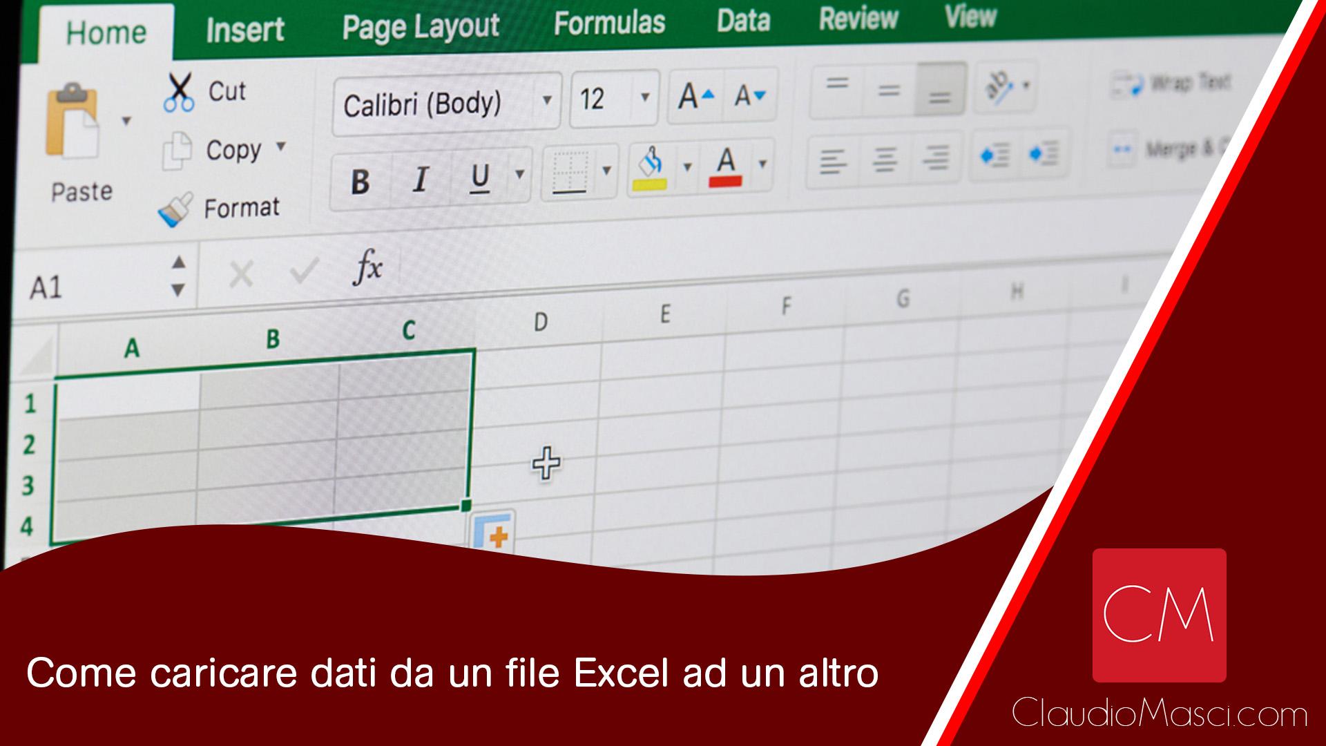 Come caricare dati da un file Excel ad un altro