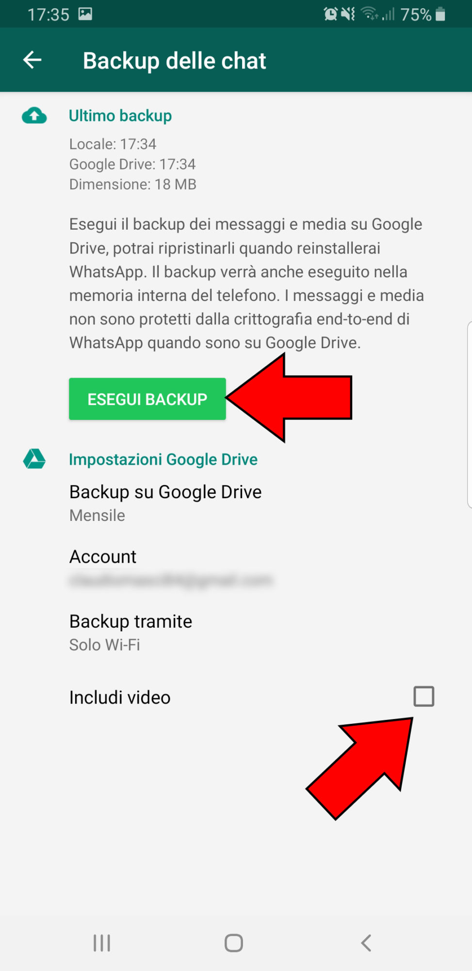 Come fare il backup di Whatsapp (4)