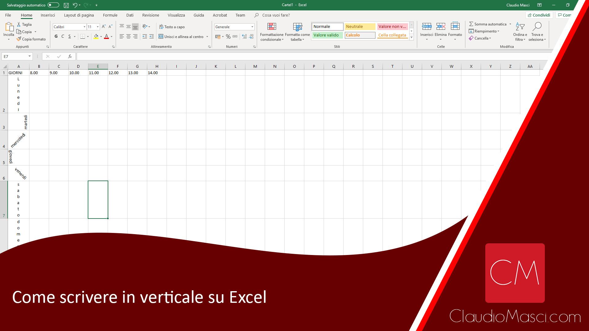 Come scrivere in verticale su Excel