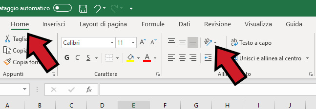 Come scrivere in verticale su Excel_001