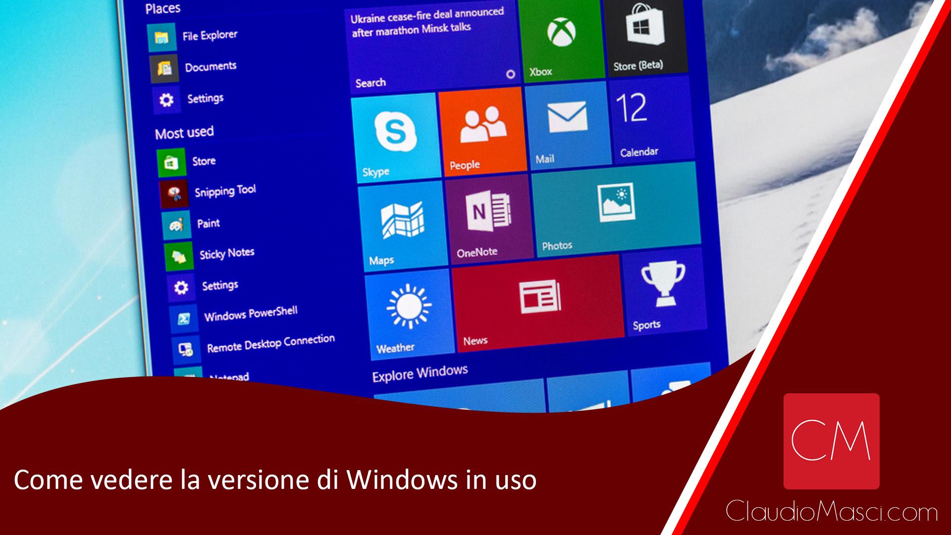 Come vedere la versione di Windows in uso