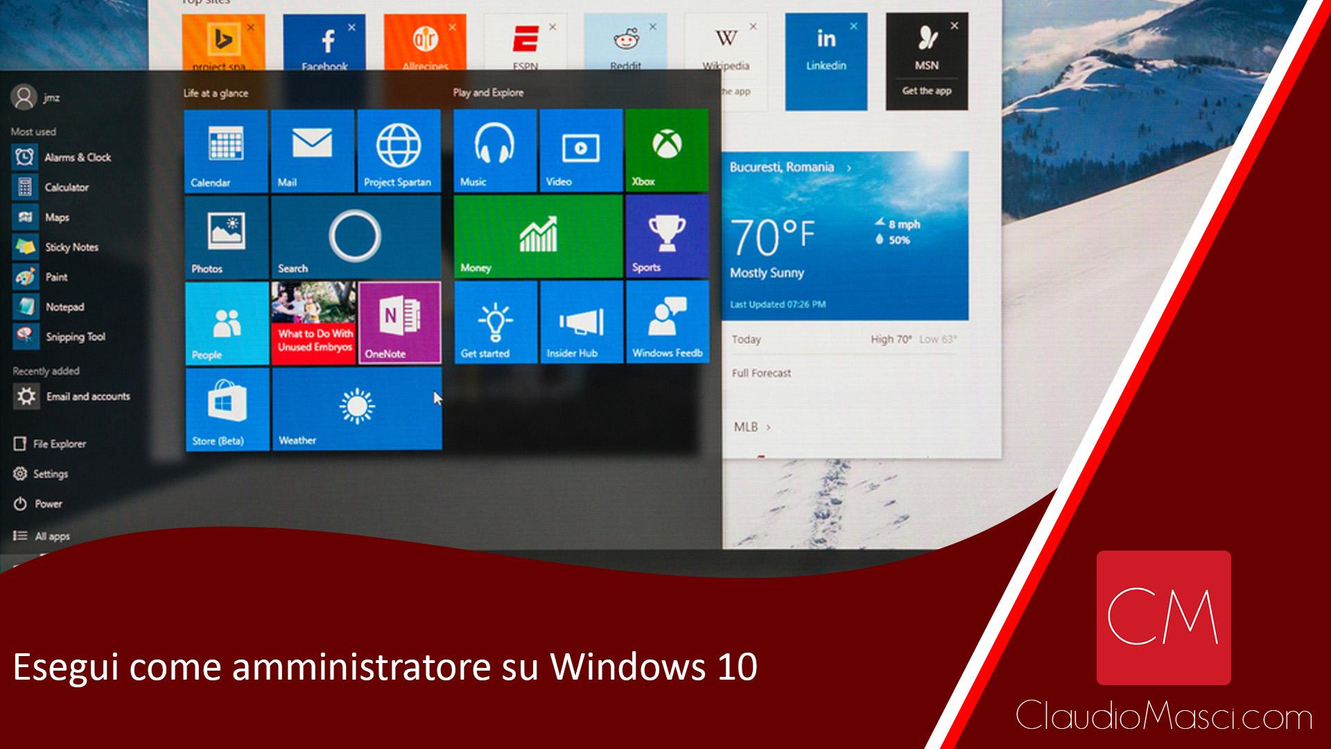 Esegui come amministratore su Windows 10