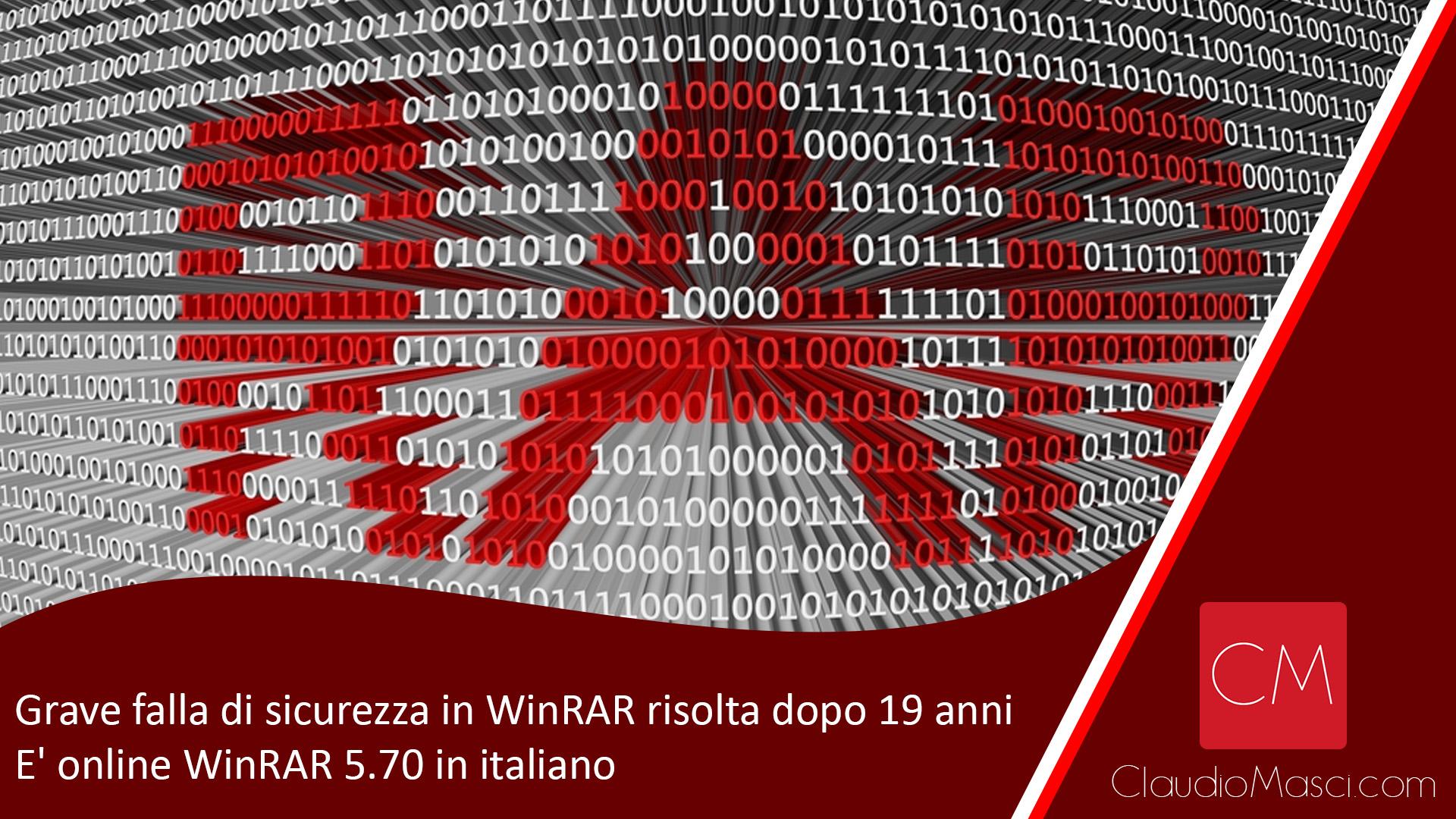 Grave falla di sicurezza in WinRAR risolta dopo 19 anni – E' online WinRAR 5.70 in italiano