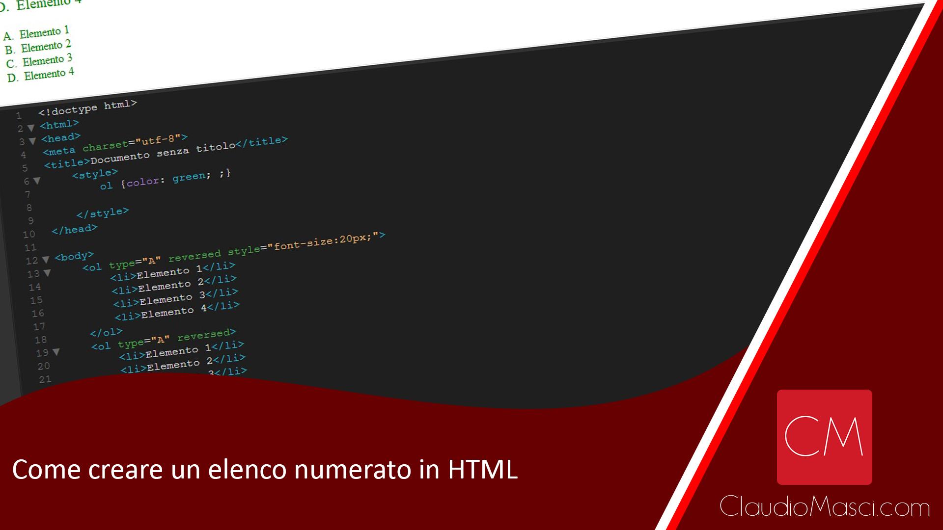 Come creare un elenco numerato in HTML