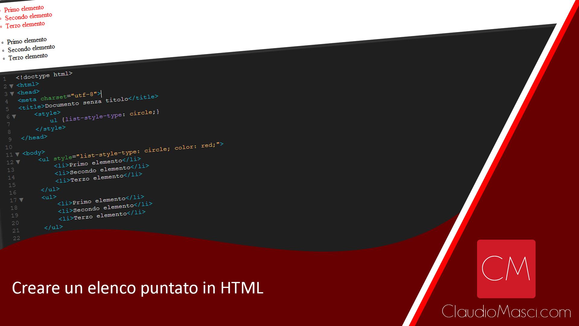 Creare un elenco puntato in HTML