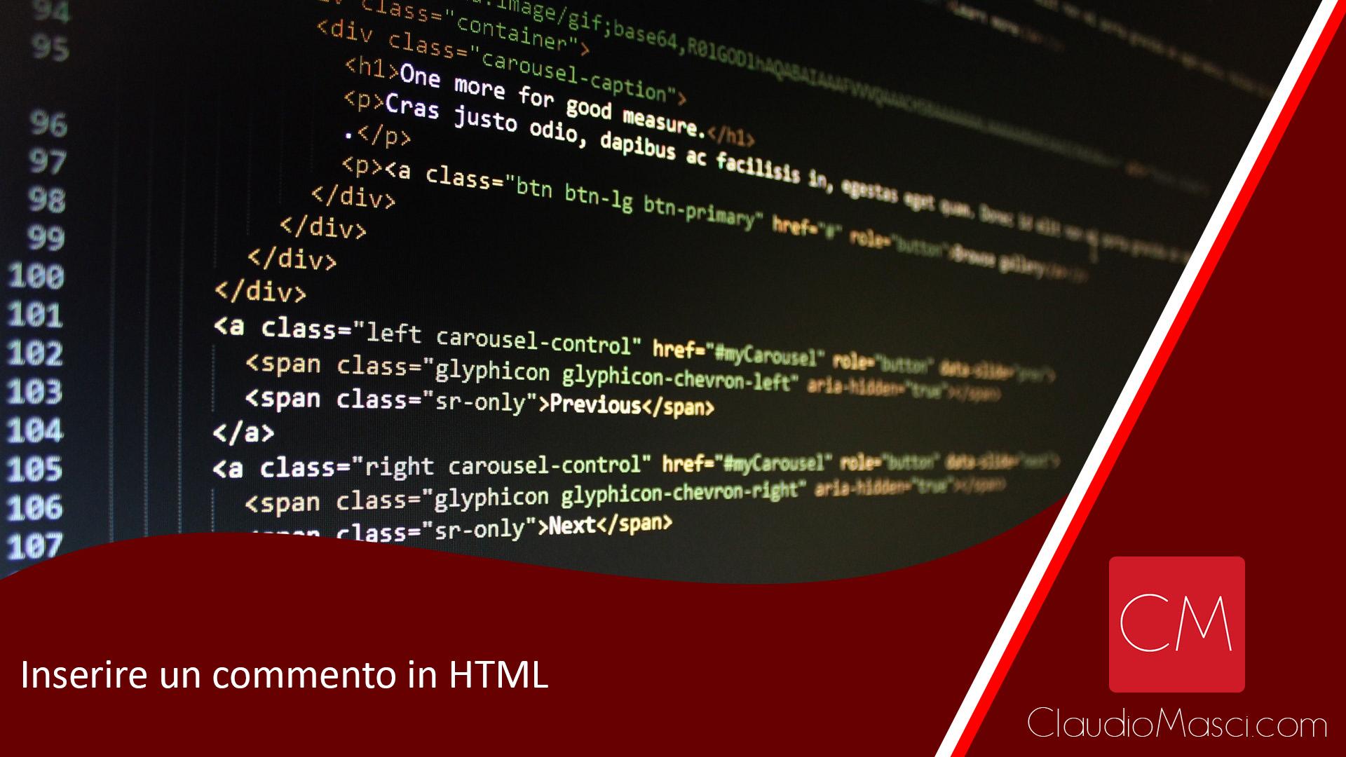 Inserire un commento in HTML