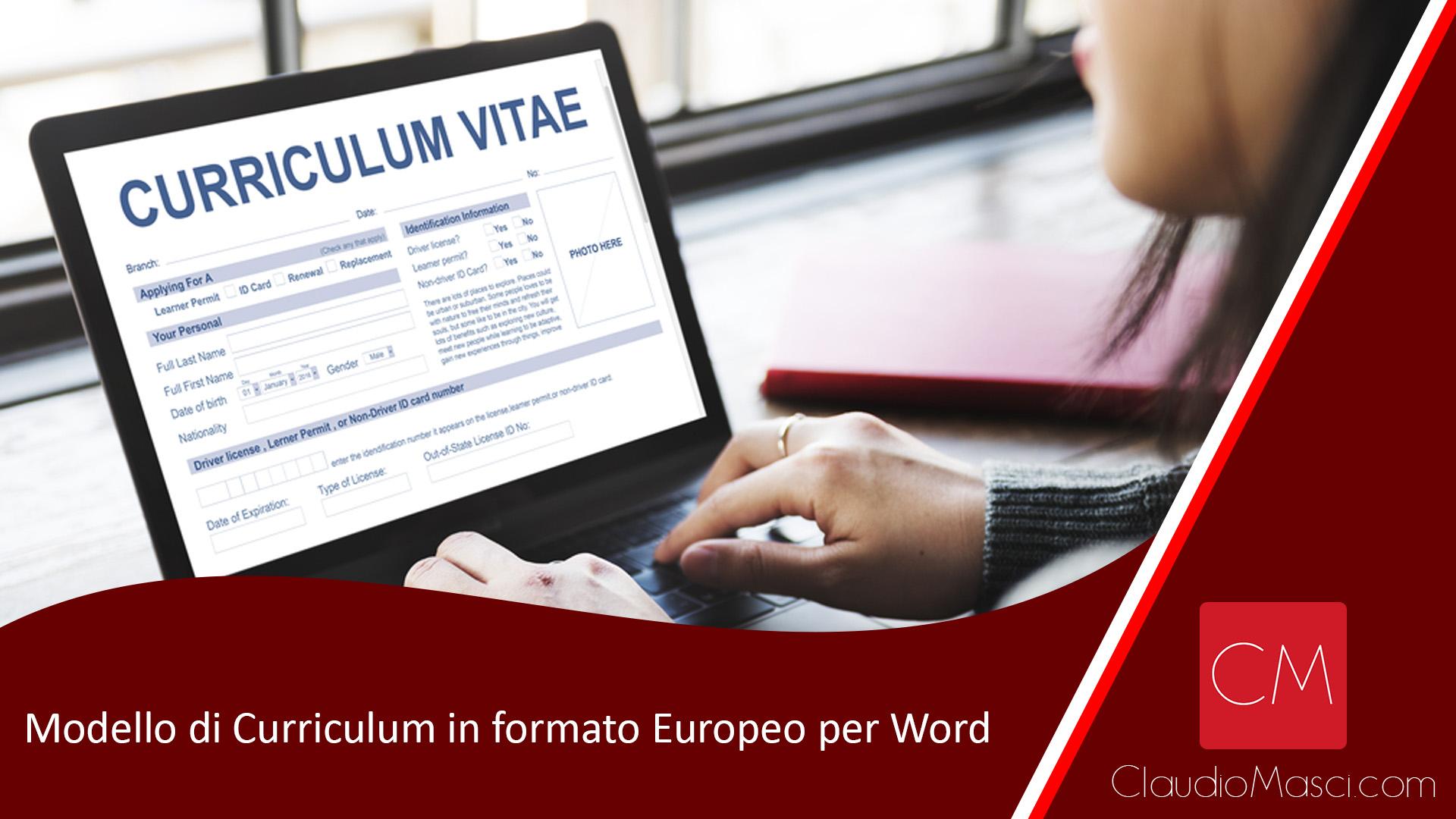 Modello di Curriculum in formato Europeo per Word