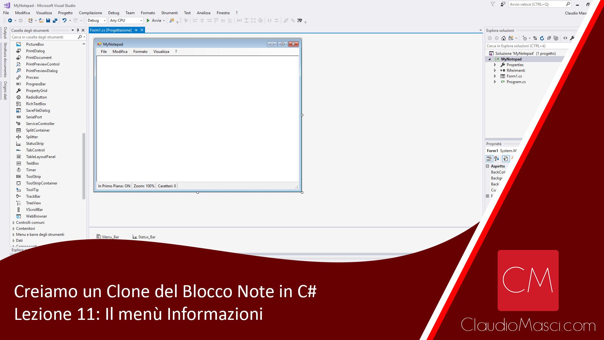 Creiamo un clone del Blocco Note in C# – Lezione 11: Il Menù Informazioni
