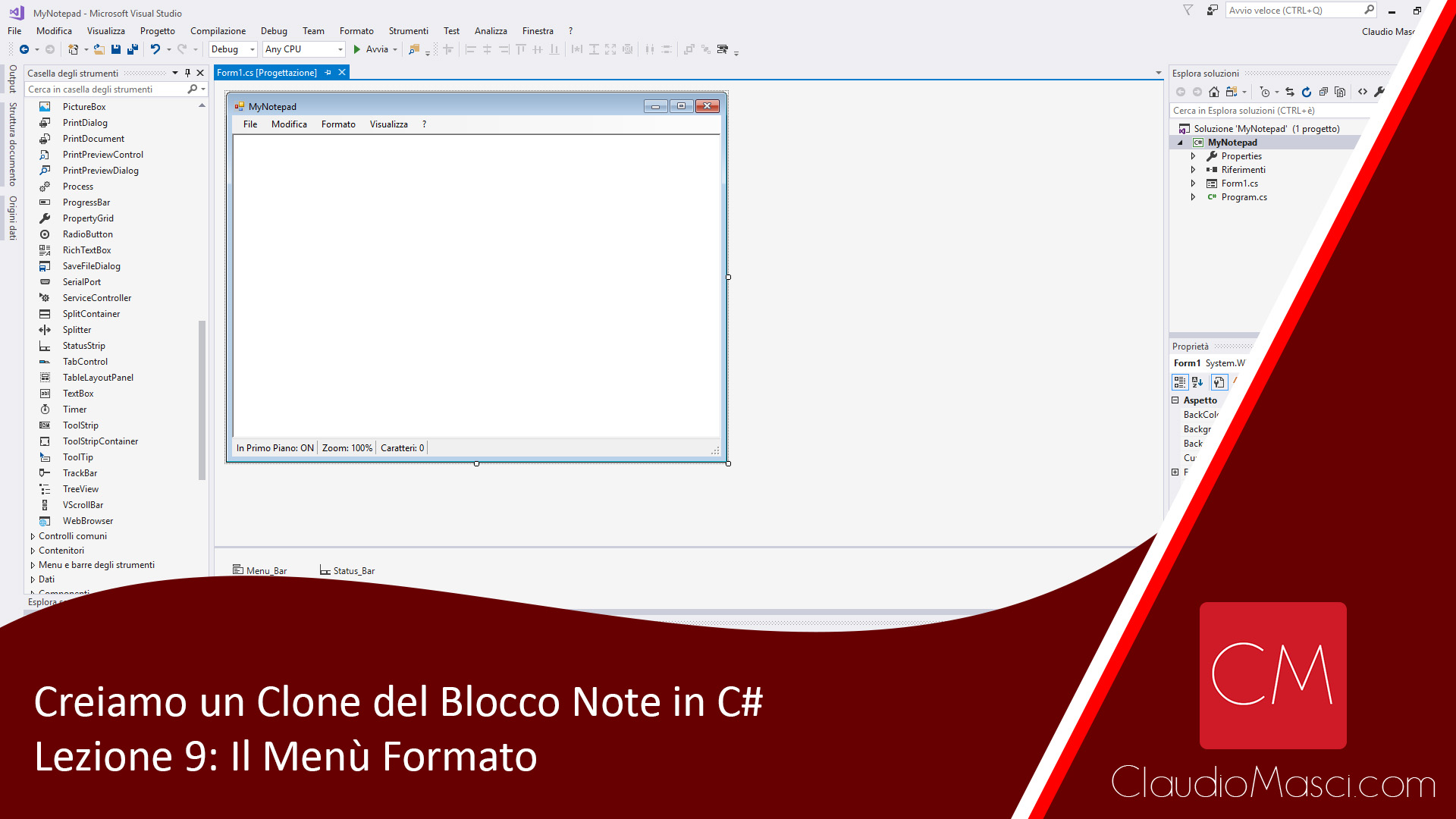 Creiamo un clone del Blocco Note in C# – Lezione 9: Il Menù Formato