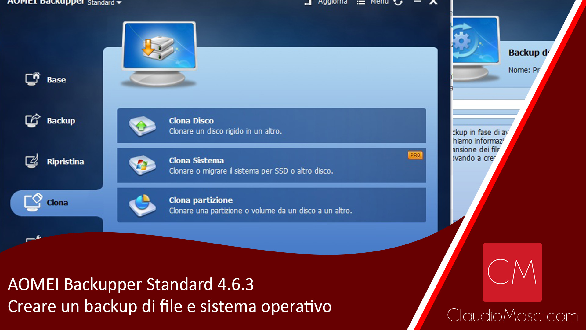 AOMEI Backupper Standard 4.6.3 – Creare un backup di file e sistema operativo