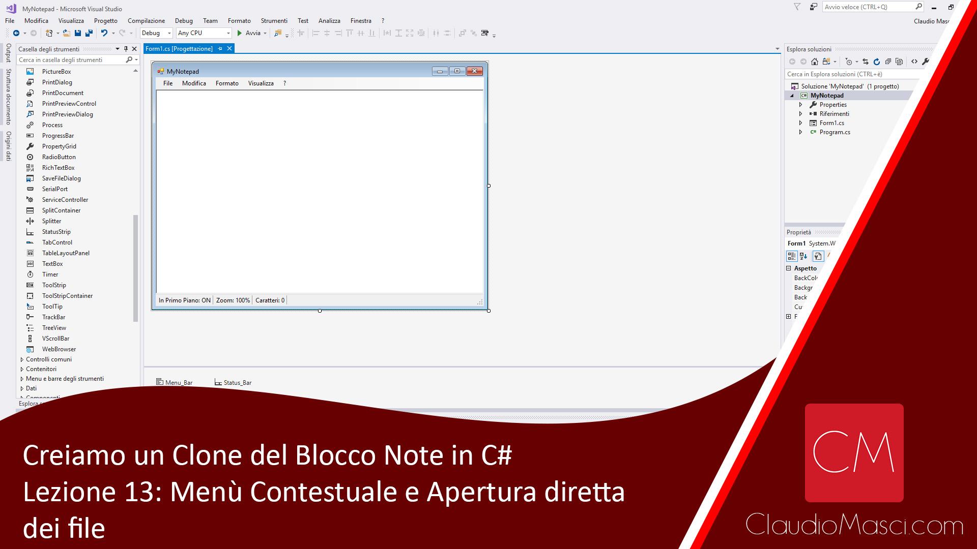 Creiamo un clone del Blocco Note in C# – Lezione 13: Il menù Contestuale e L'apertura diretta dei file