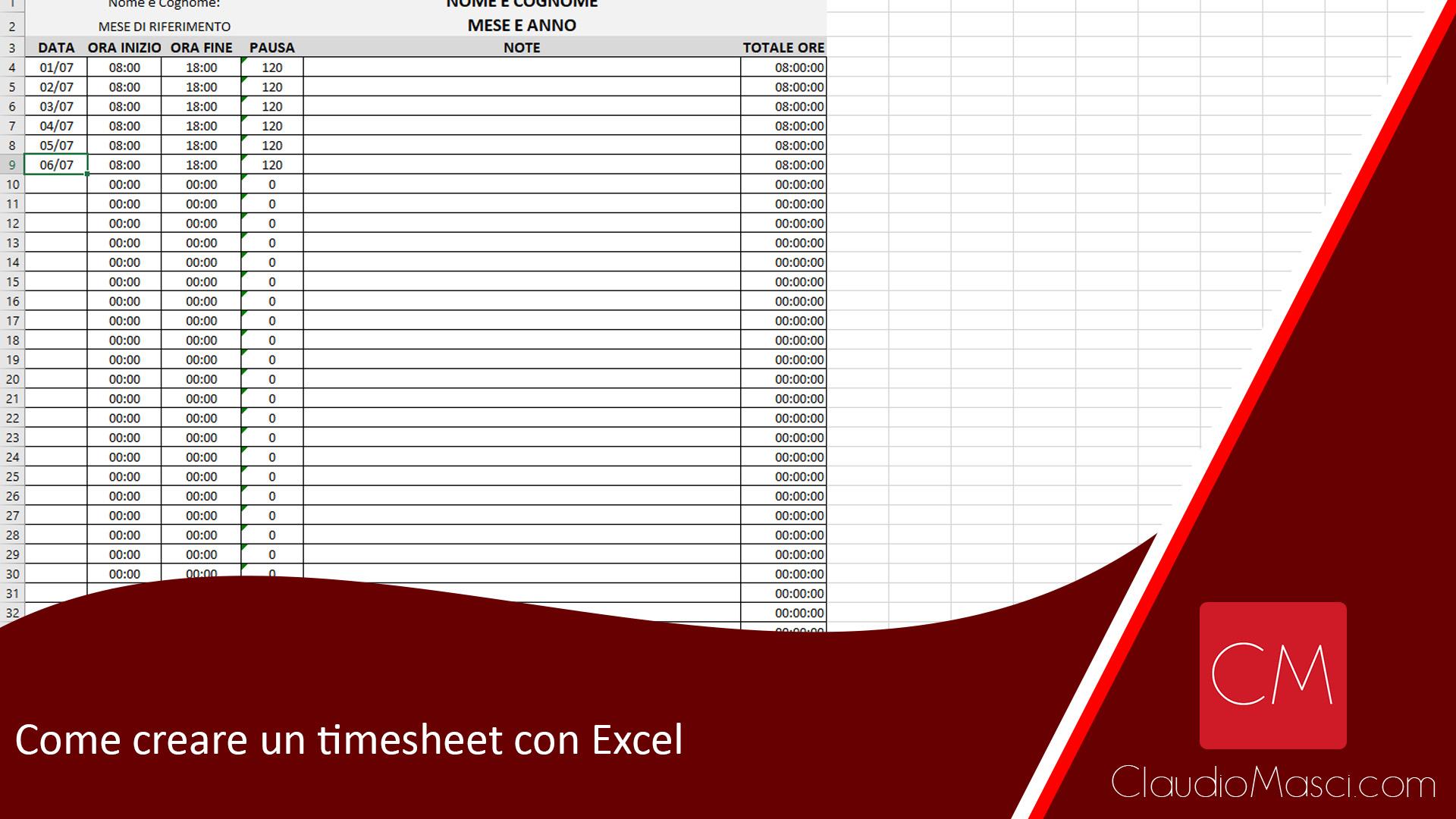 Come creare un timesheet con Excel