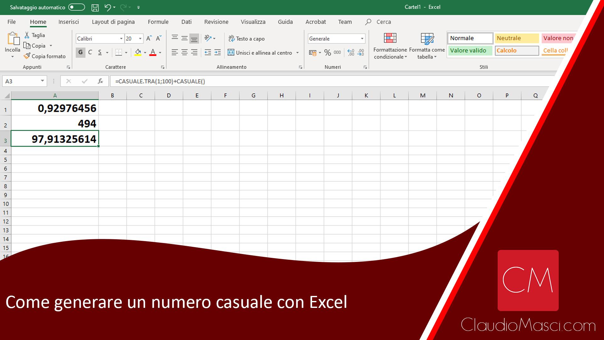 Come generare un numero casuale con Excel