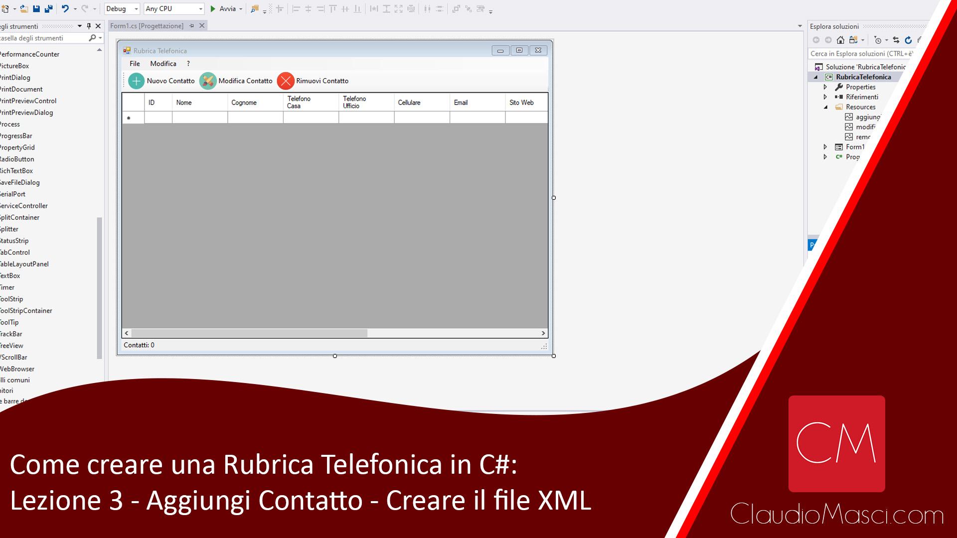 Come creare una Rubrica Telefonica in C# - Lezione 3 - Nuovo Contatto - Parte2 - Creare il File XMLjpg