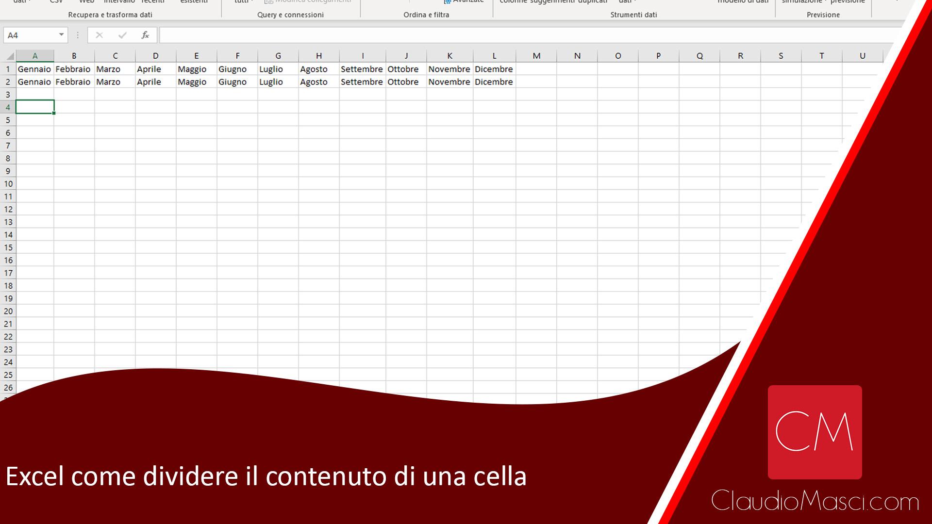 Excel come dividere il contenuto di una cella