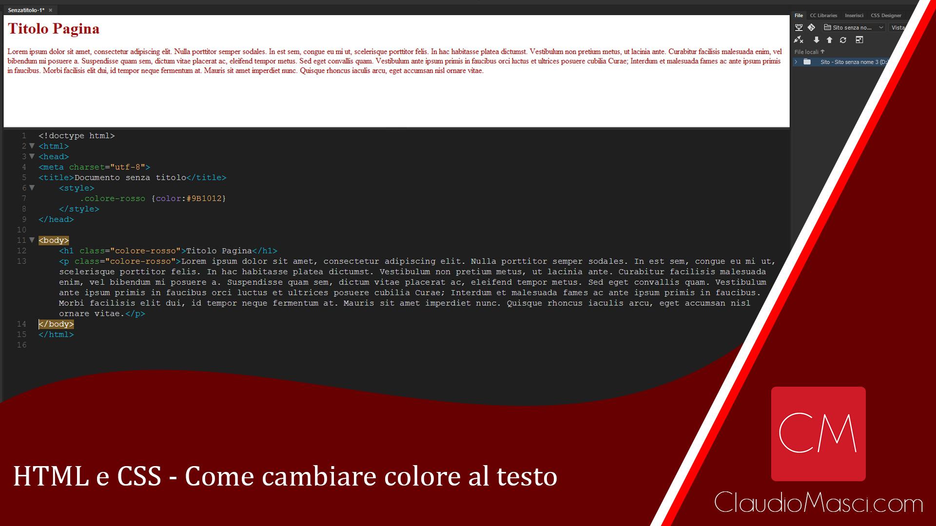 Come cambiare colore al testo in HTML e CSS