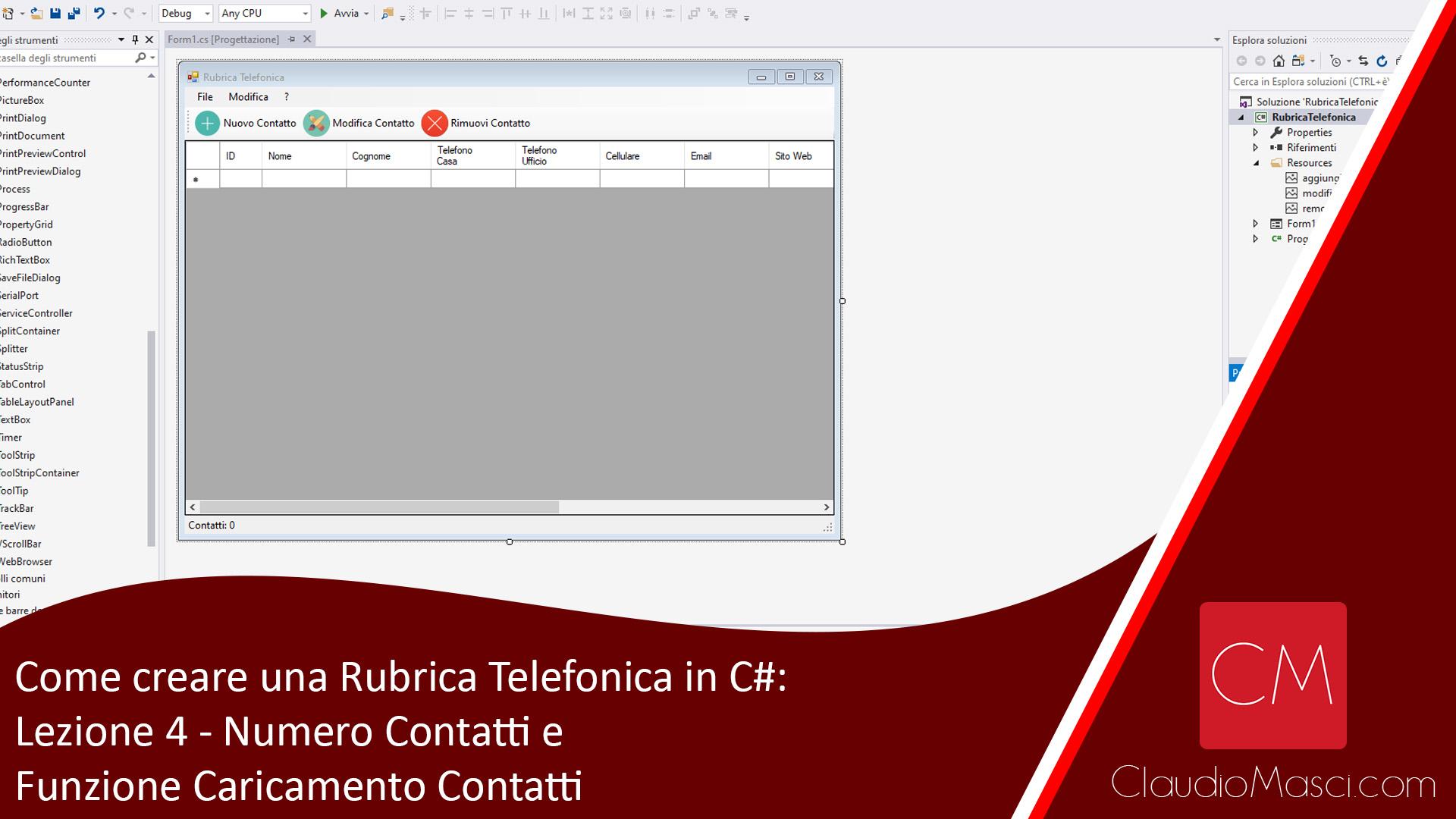 Come creare una Rubrica Telefonica in C# – Lezione 4 – Numero Contatti e Funzione Caricamento Contatti