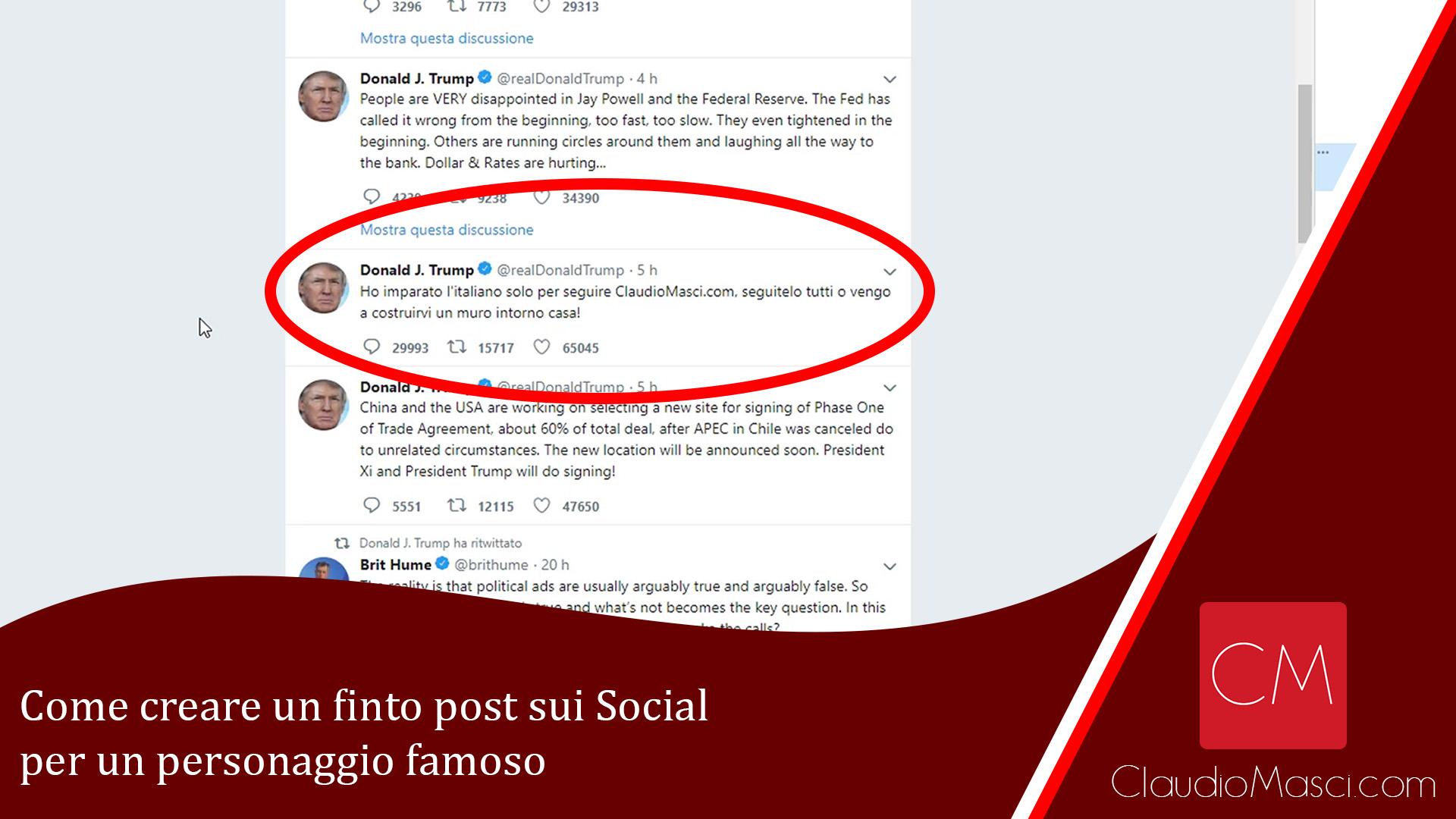 Come creare un finto post sui Social per un personaggio famoso