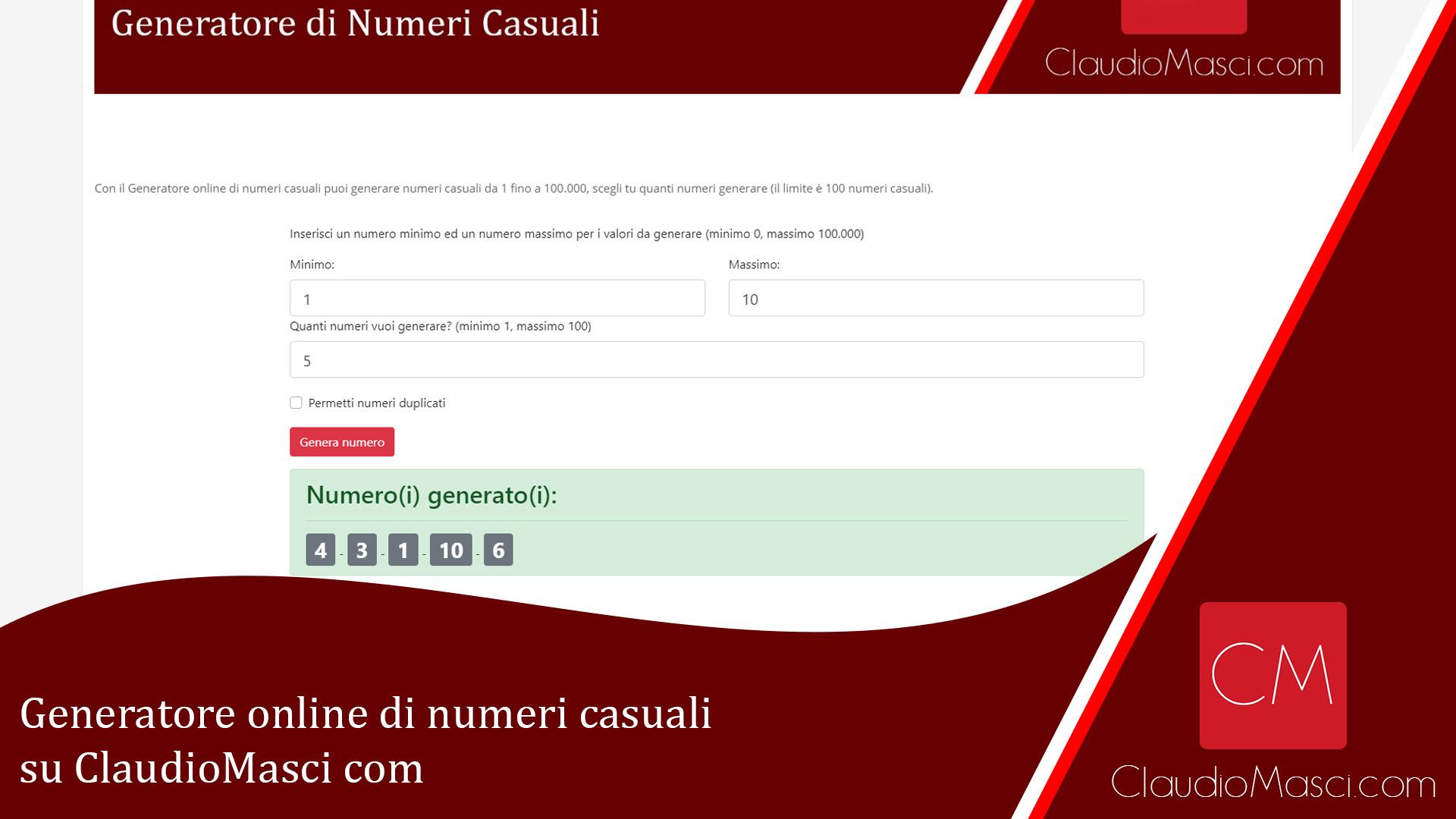 Generatore online di numeri casuali gratuito