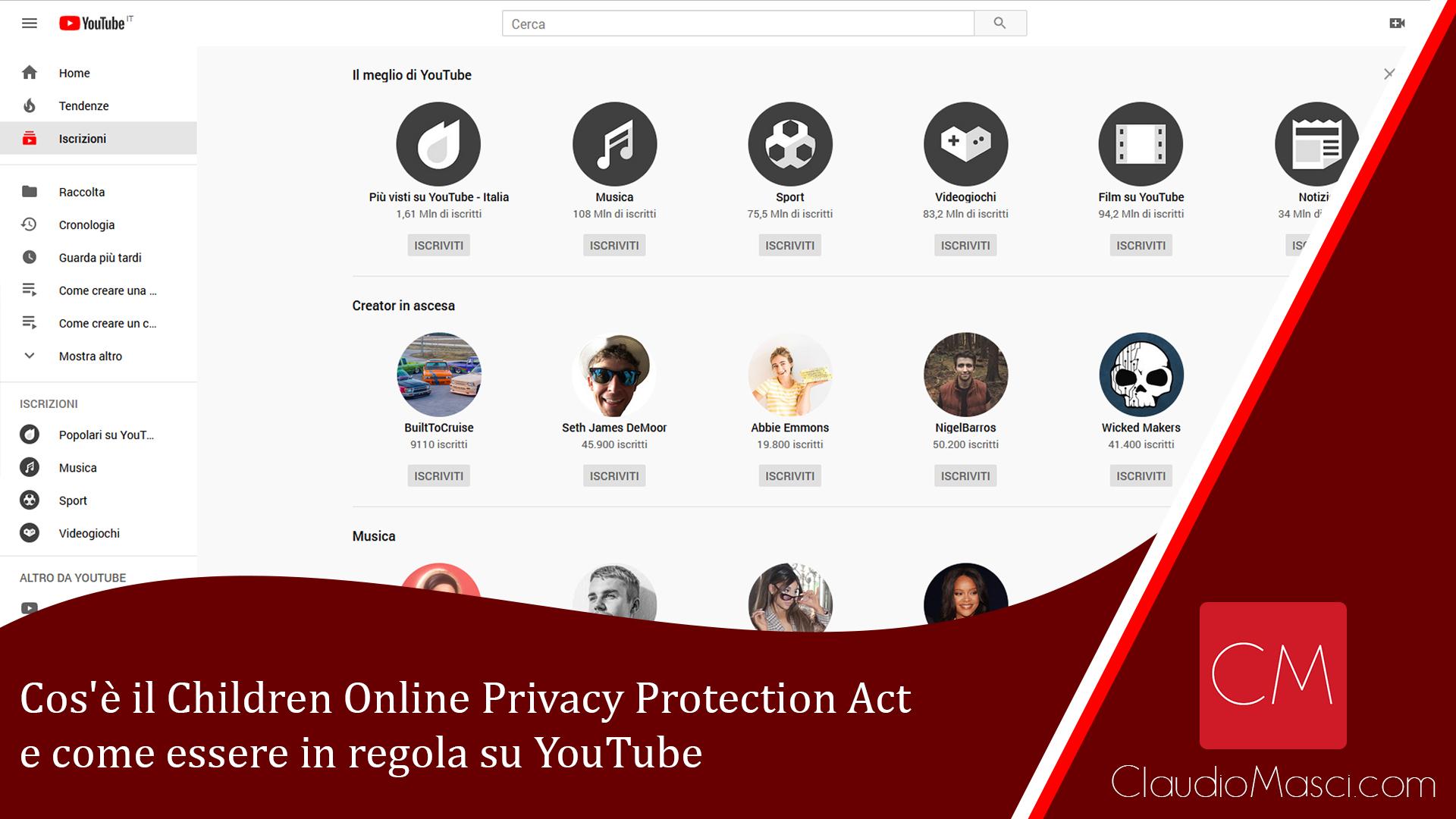 Cos'è il Children Online Privacy Protection Act e come essere in regola su YouTube