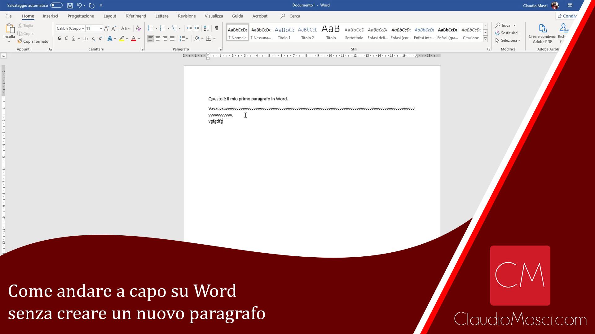 Come andare a capo su Word senza creare un nuovo paragrafo