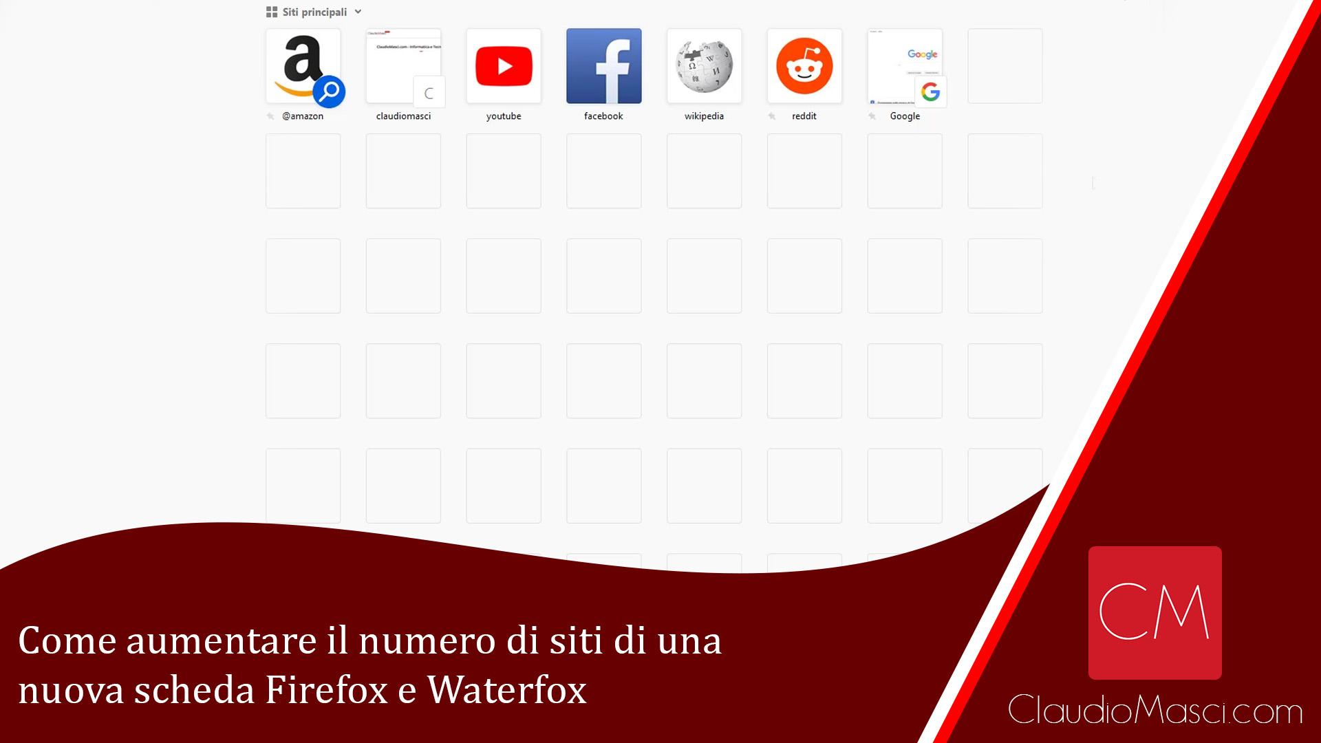 Come aumentare il numero di siti di una nuova scheda Firefox e Waterfox