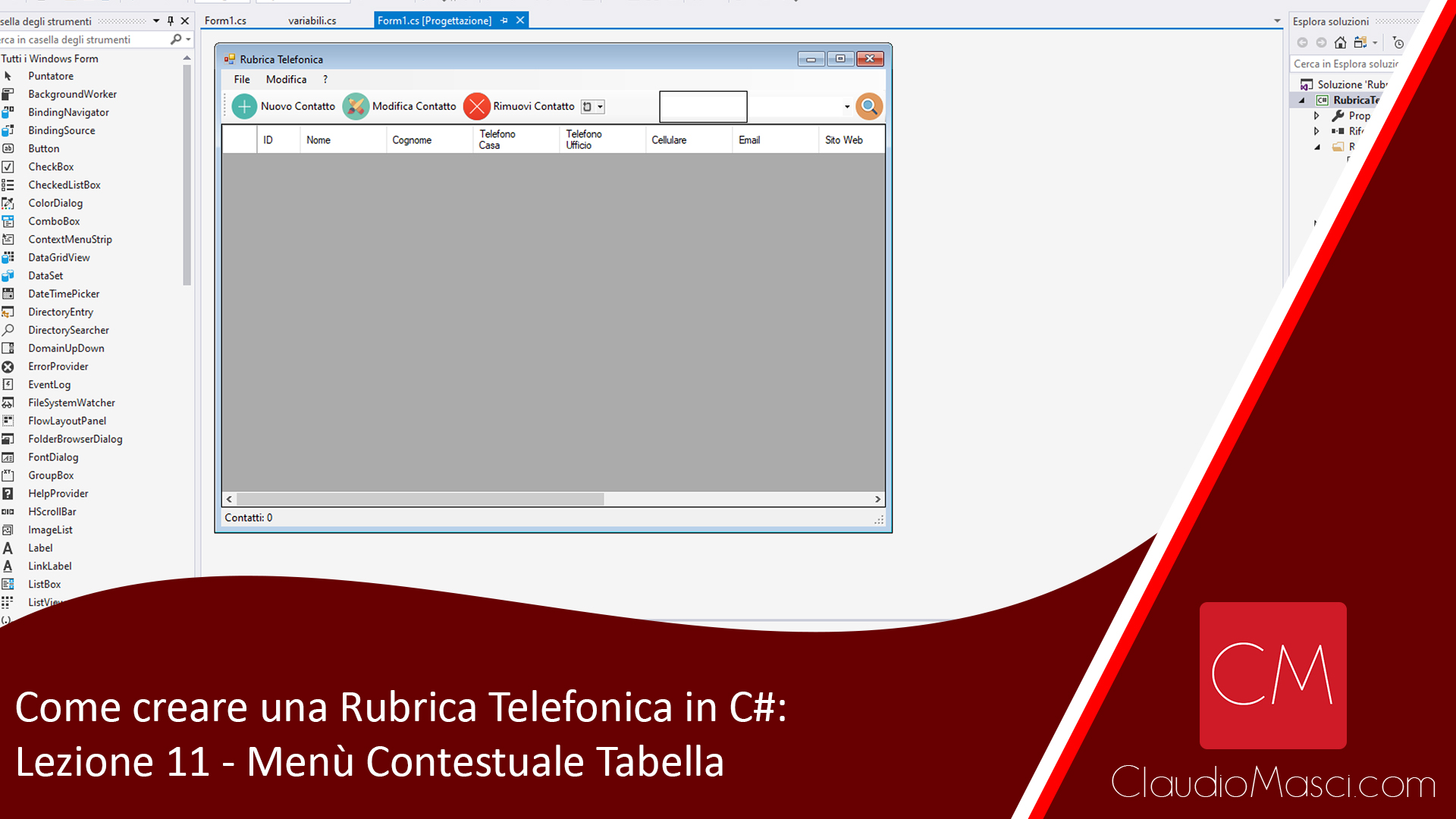 Come creare una Rubrica Telefonica in C# – Video 11: Menù Contestuale Tabella