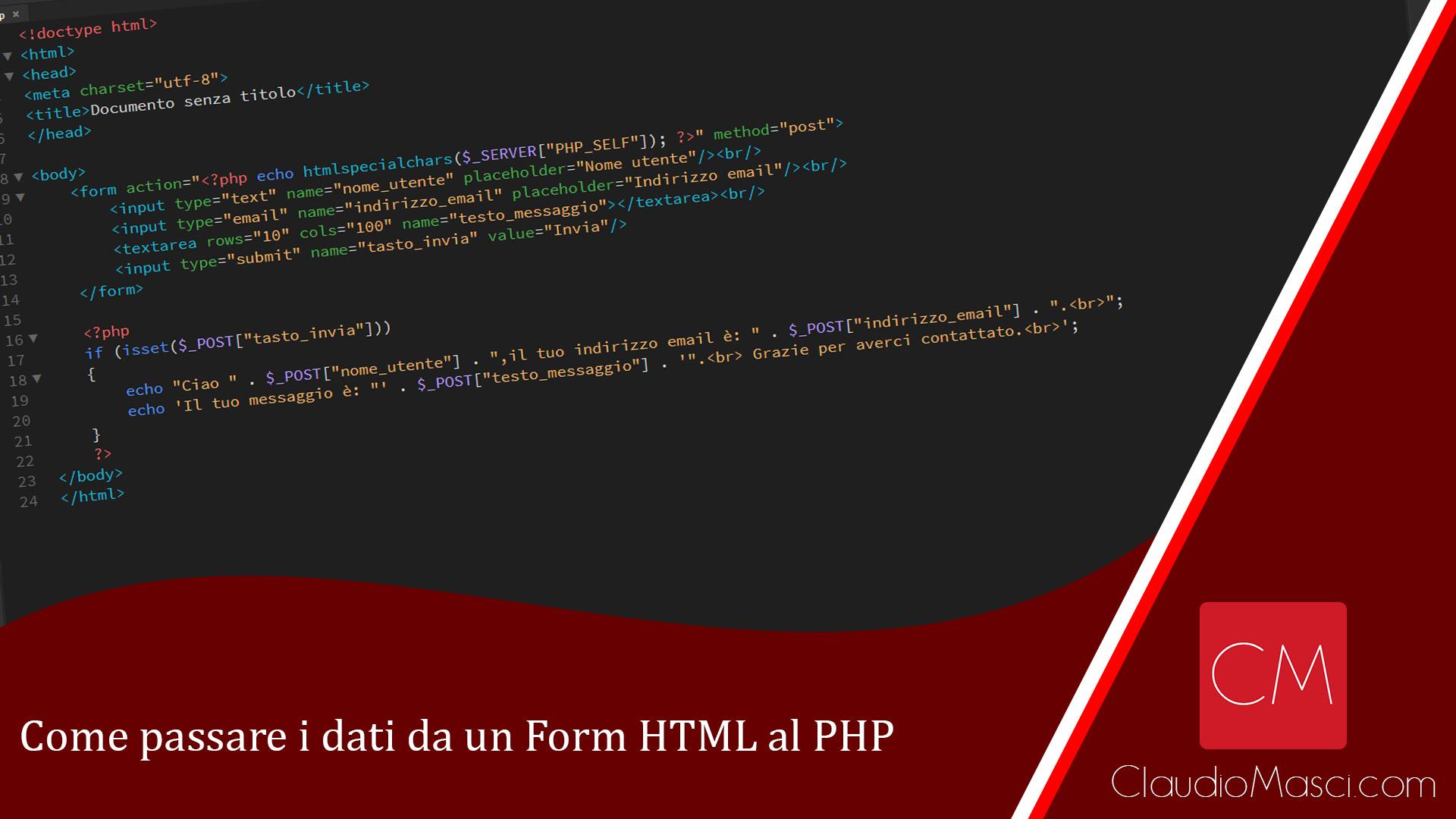 Come passare i dati da un Form HTML al PHP
