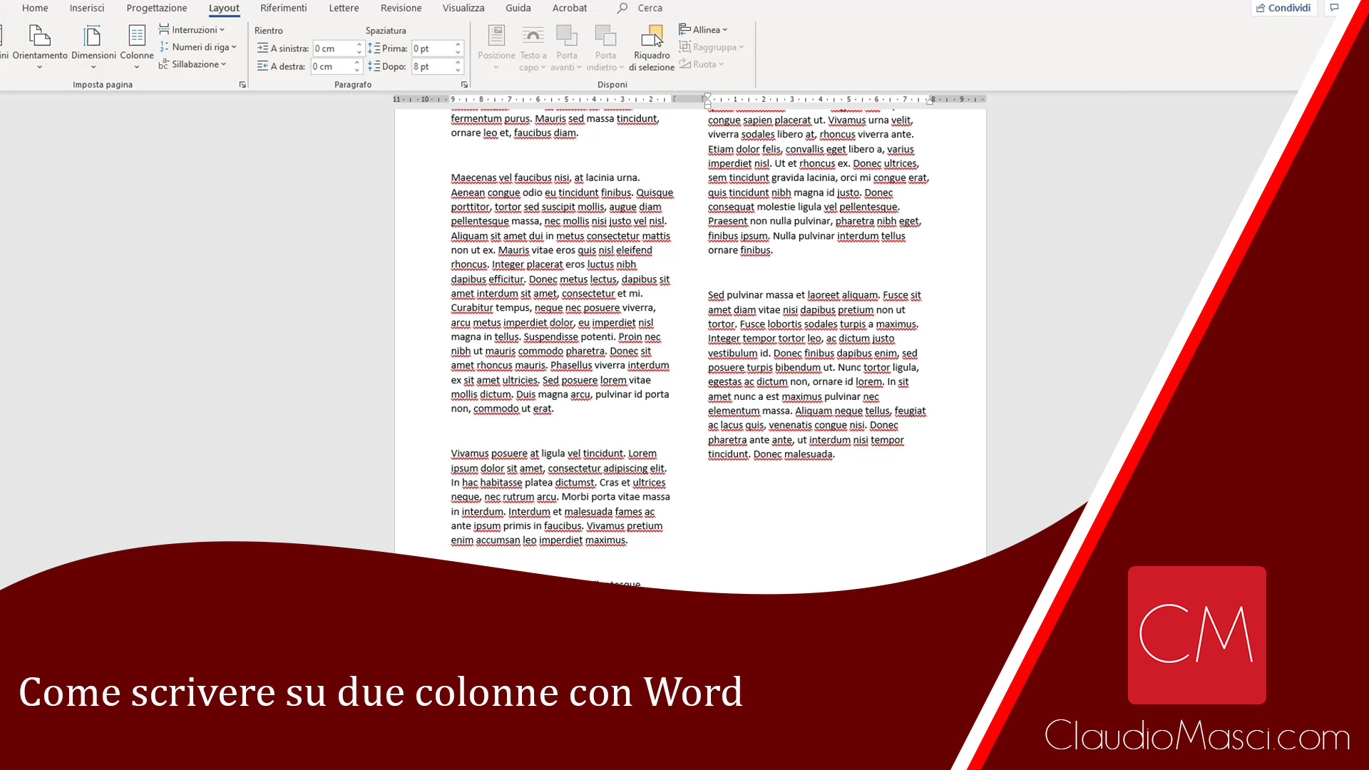 Come scrivere su due colonne con Word