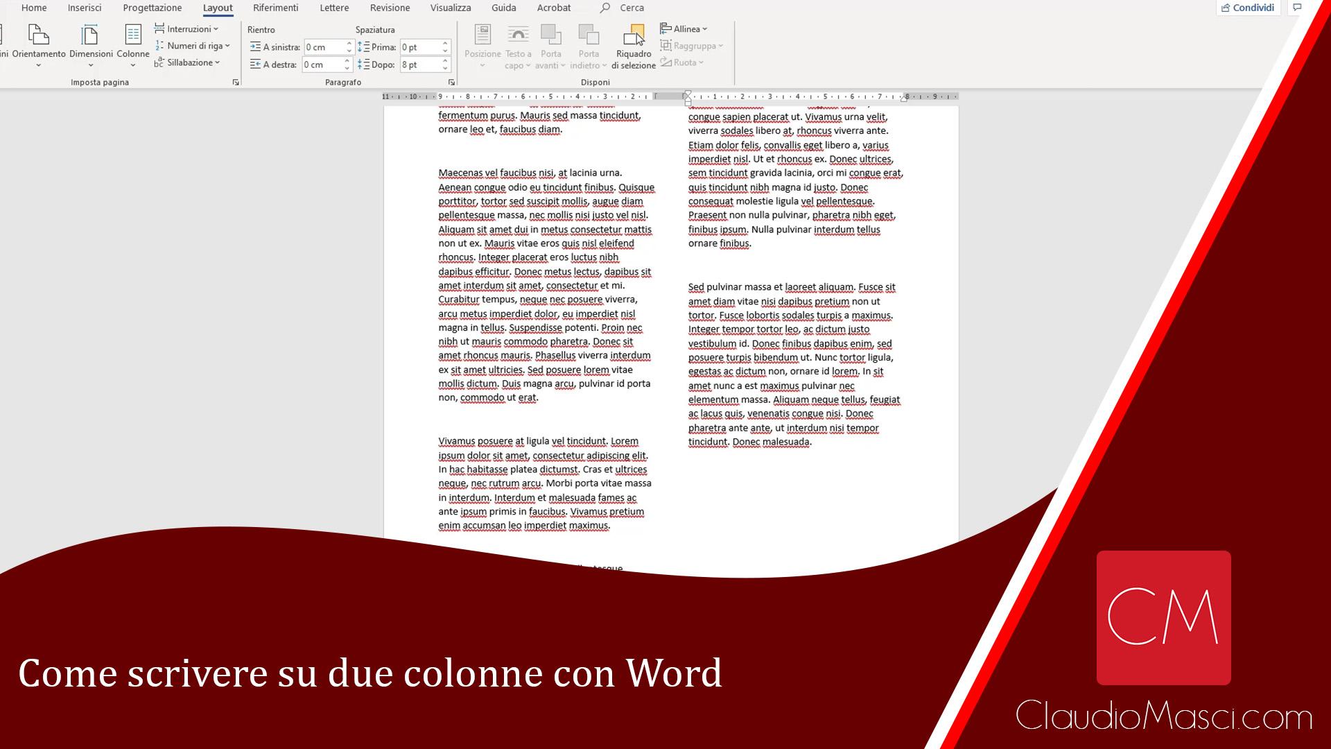 Come scrivere su due colonne con Word