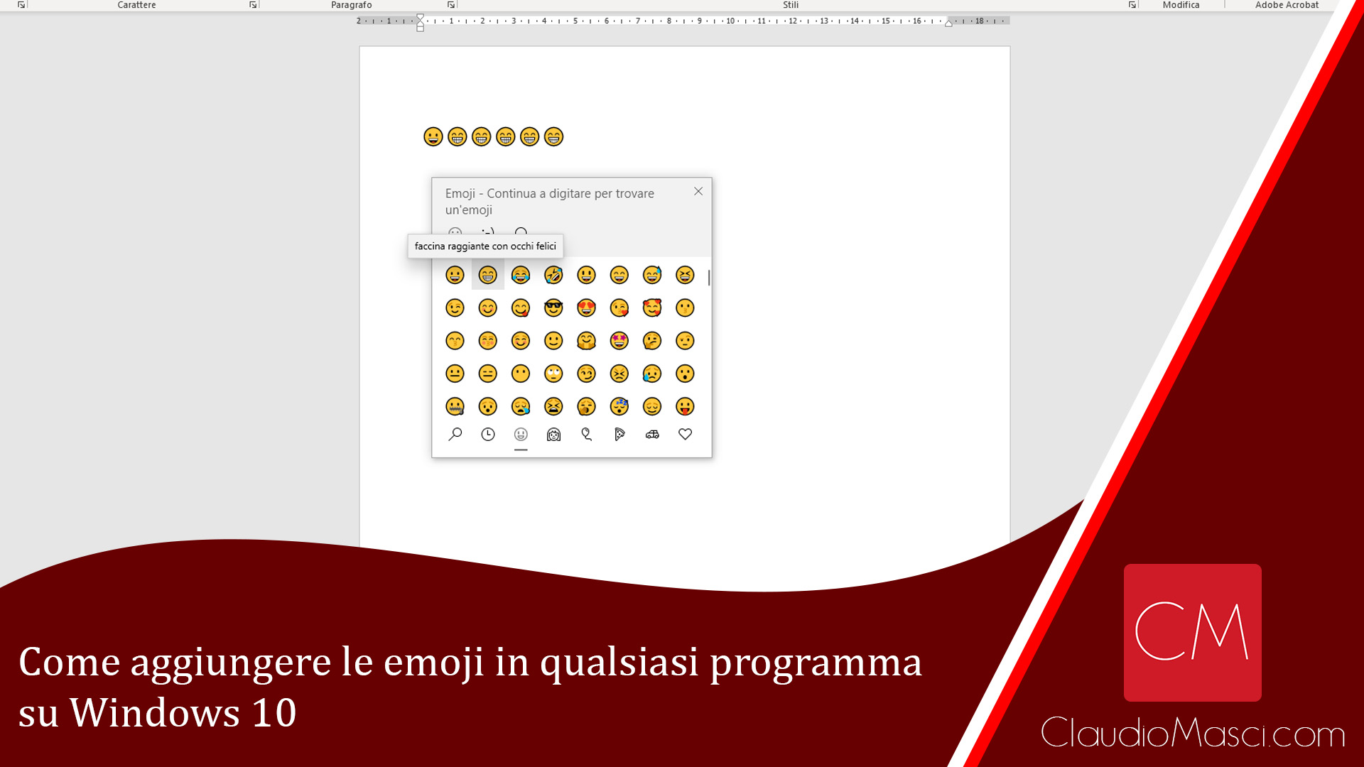 Come aggiungere le emoji in qualsiasi programma su Windows 10