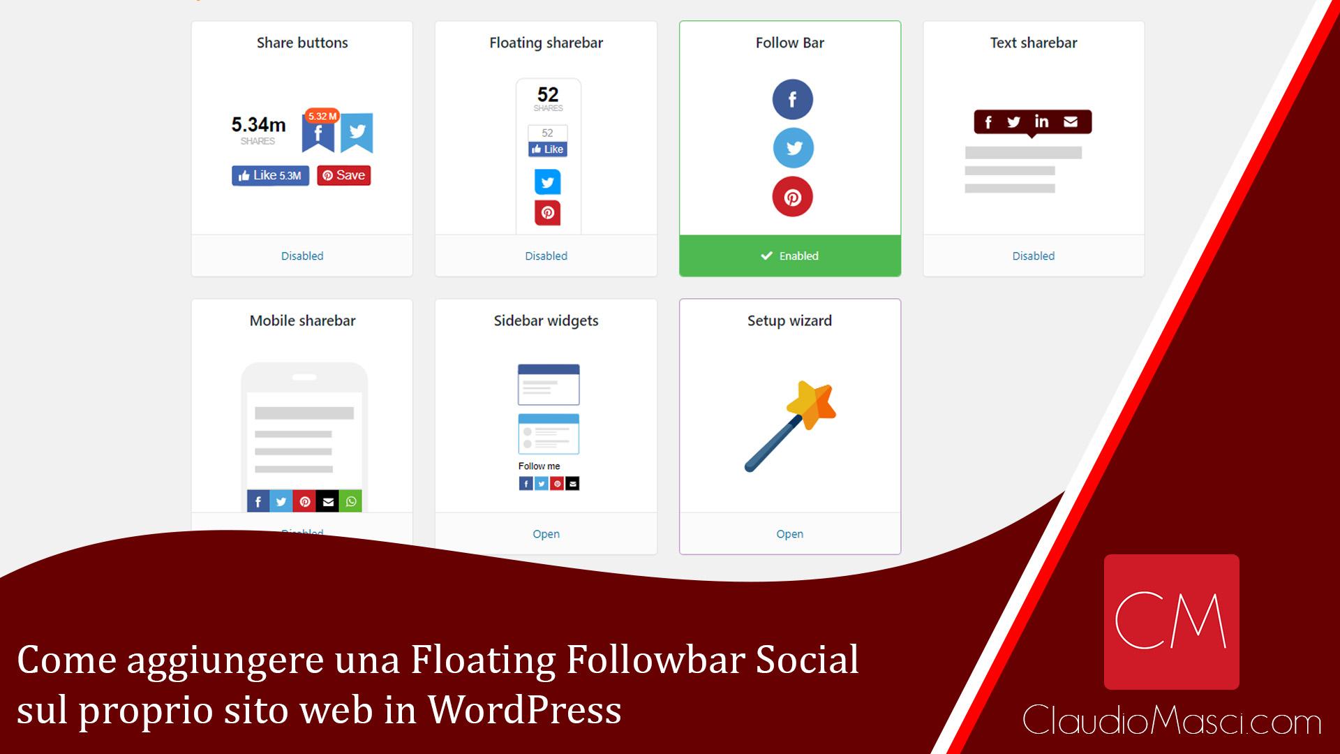 Come aggiungere una Floating Followbar Social sul proprio sito web in WordPress