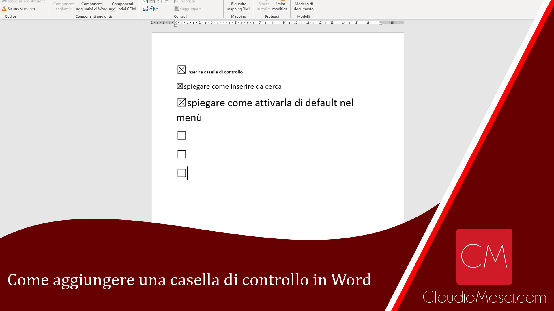 Come aggiungere una casella di controllo in Word