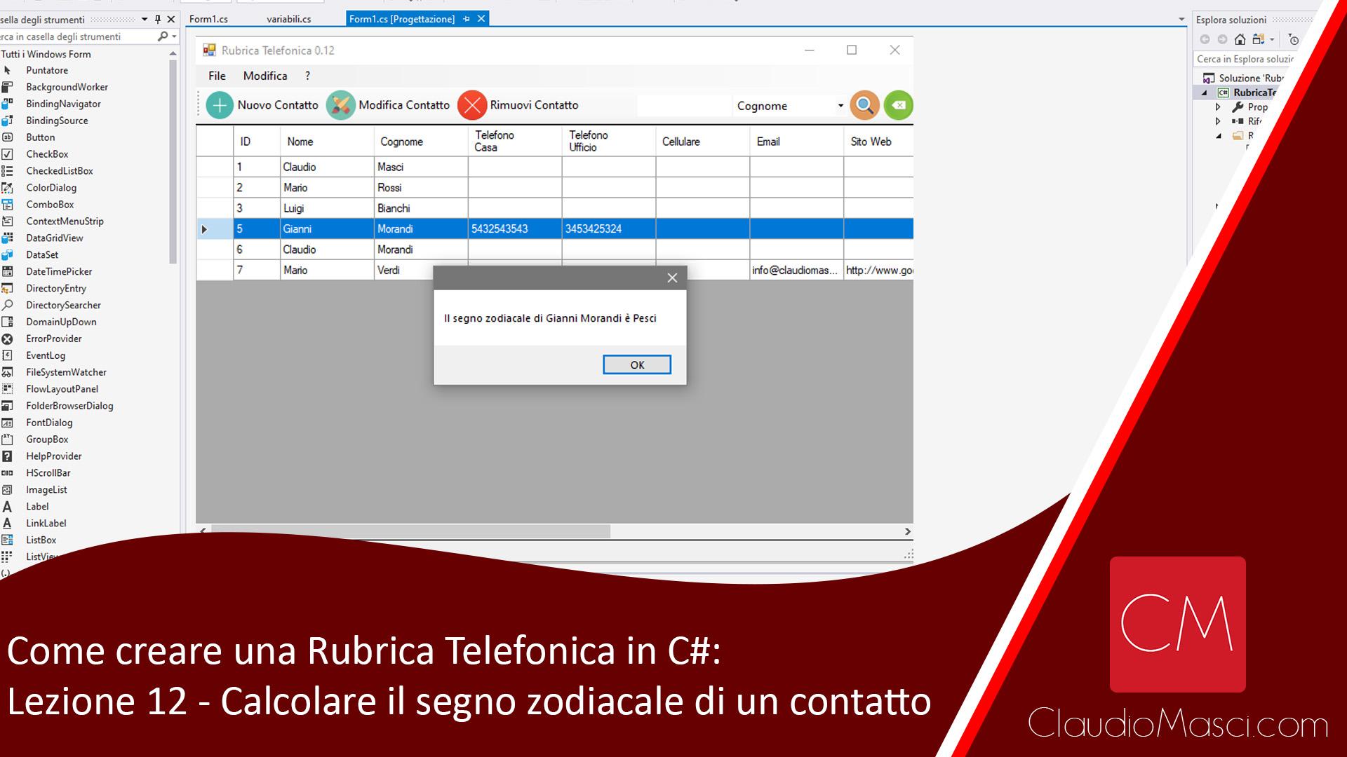 Come creare una Rubrica Telefonica in C# – Lezione 12 – Calcolare il segno zodiacale di un contatto