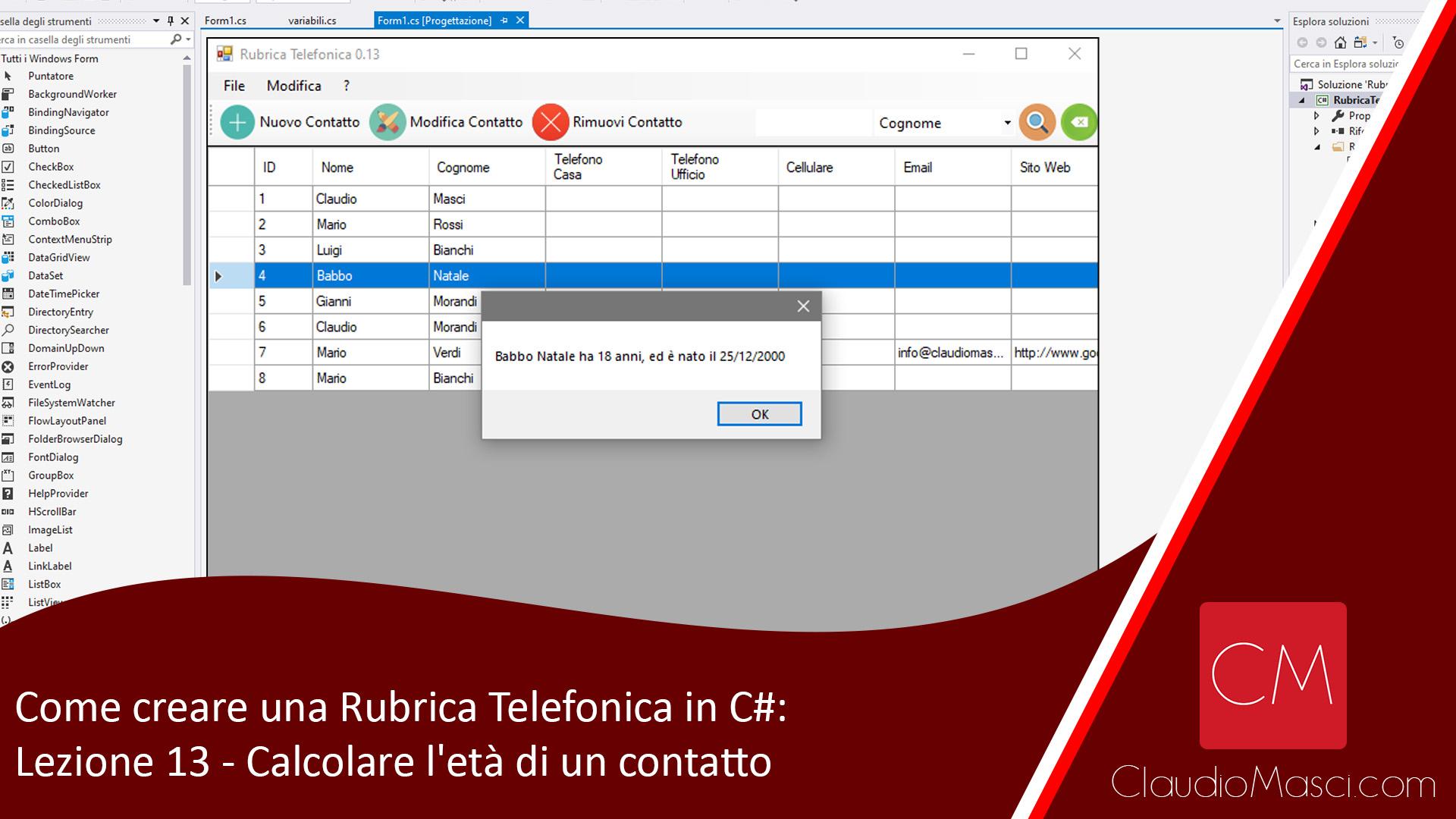 Come creare una Rubrica Telefonica in C# – Lezione 13: Calcolare l'età di un contatto