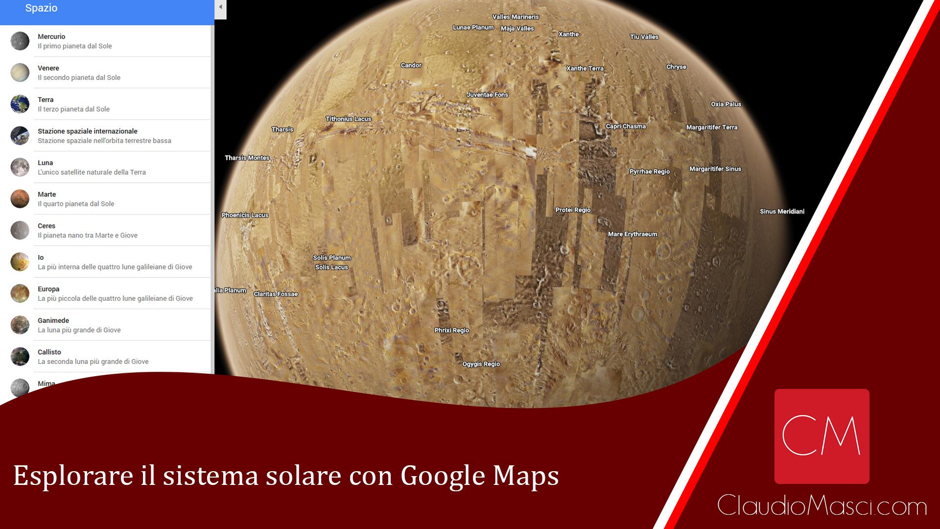 Esplorare il sistema solare con Google Maps
