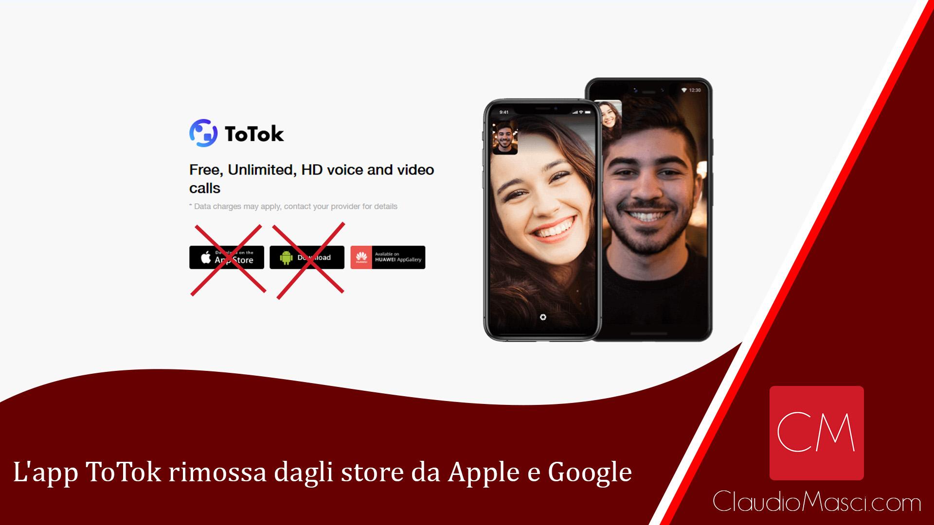 L'app ToTok rimossa dagli store da Apple e Google