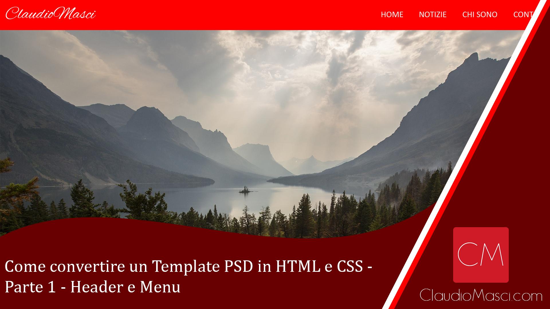 Come convertire un Template PSD in HTML e CSS – Parte 1 – Header e Menu