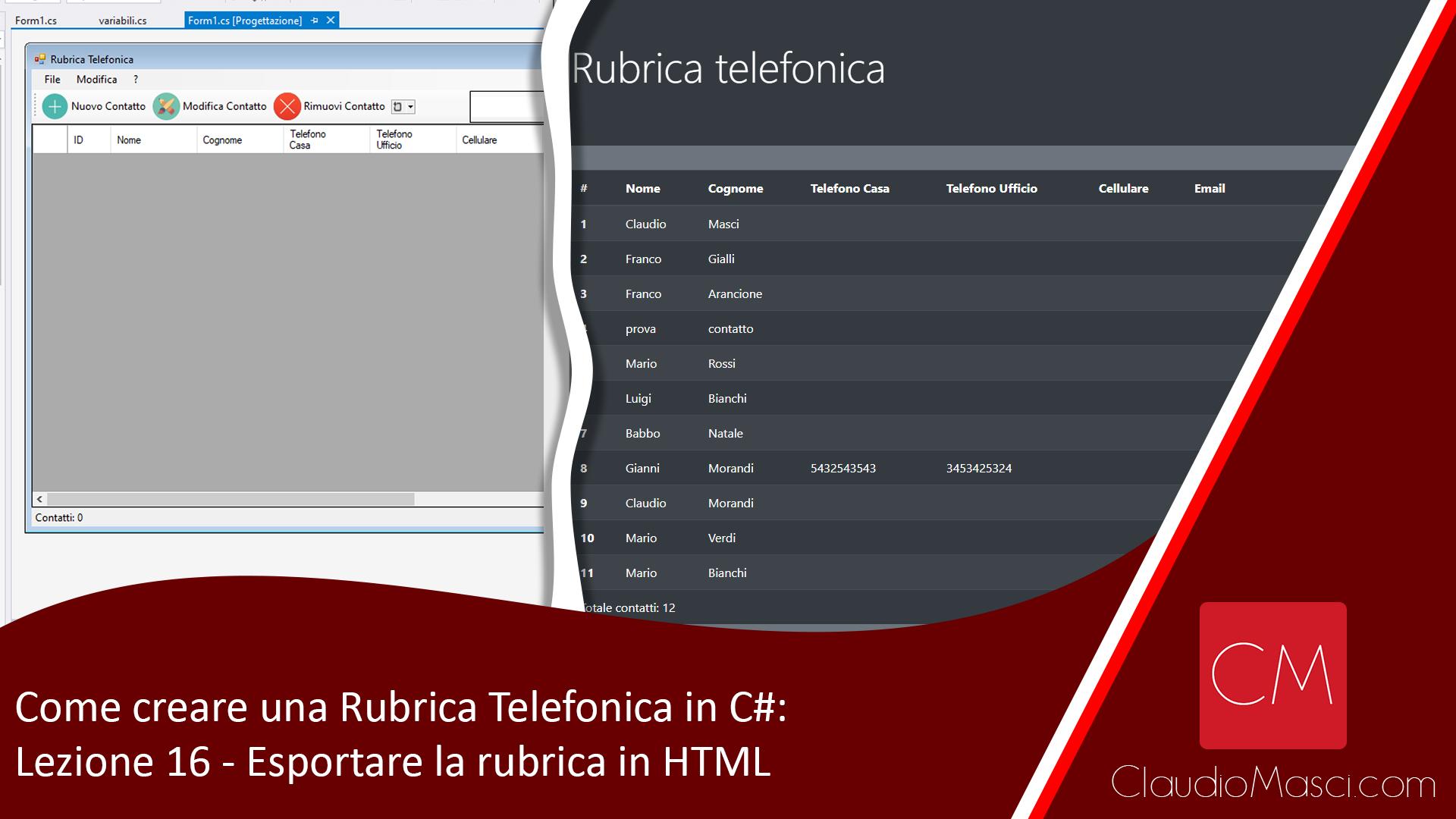 Come creare una Rubrica Telefonica in C# – Lezione 16 – Esportare la rubrica in HTML