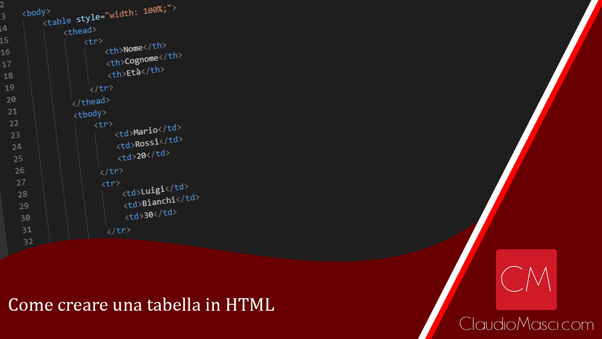 Come creare una tabella in HTML