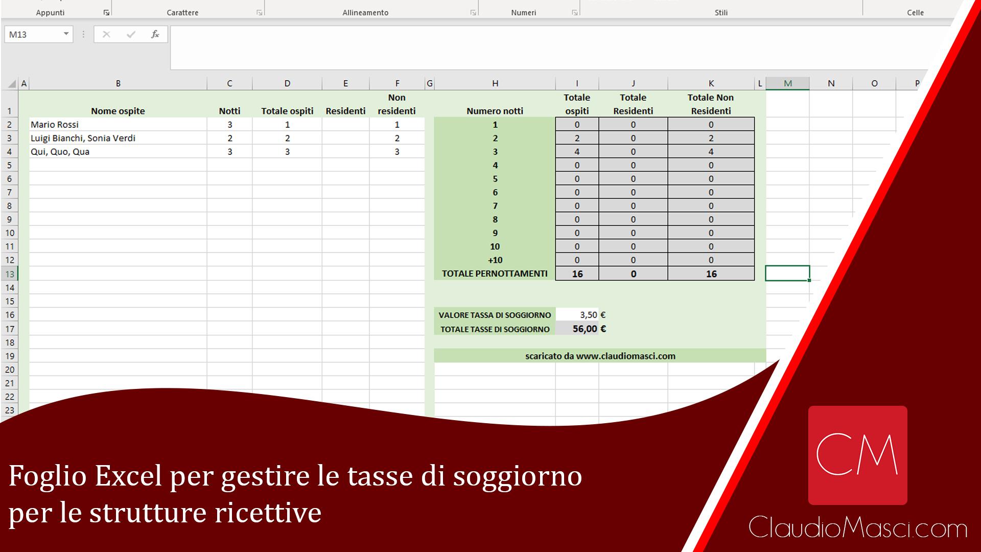 Foglio Excel per gestire le tasse di soggiorno per le strutture ricettive