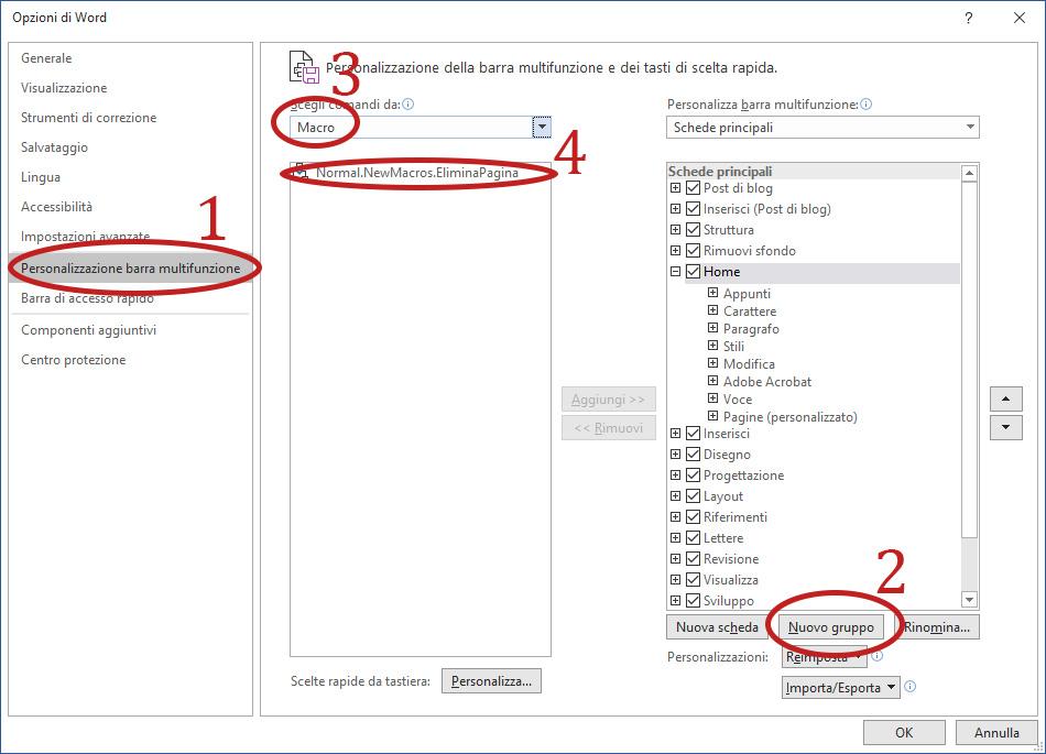 Come eliminare una pagina in Word - Aggiungere tasto Rimuovi Pagina alla barra multifunzione