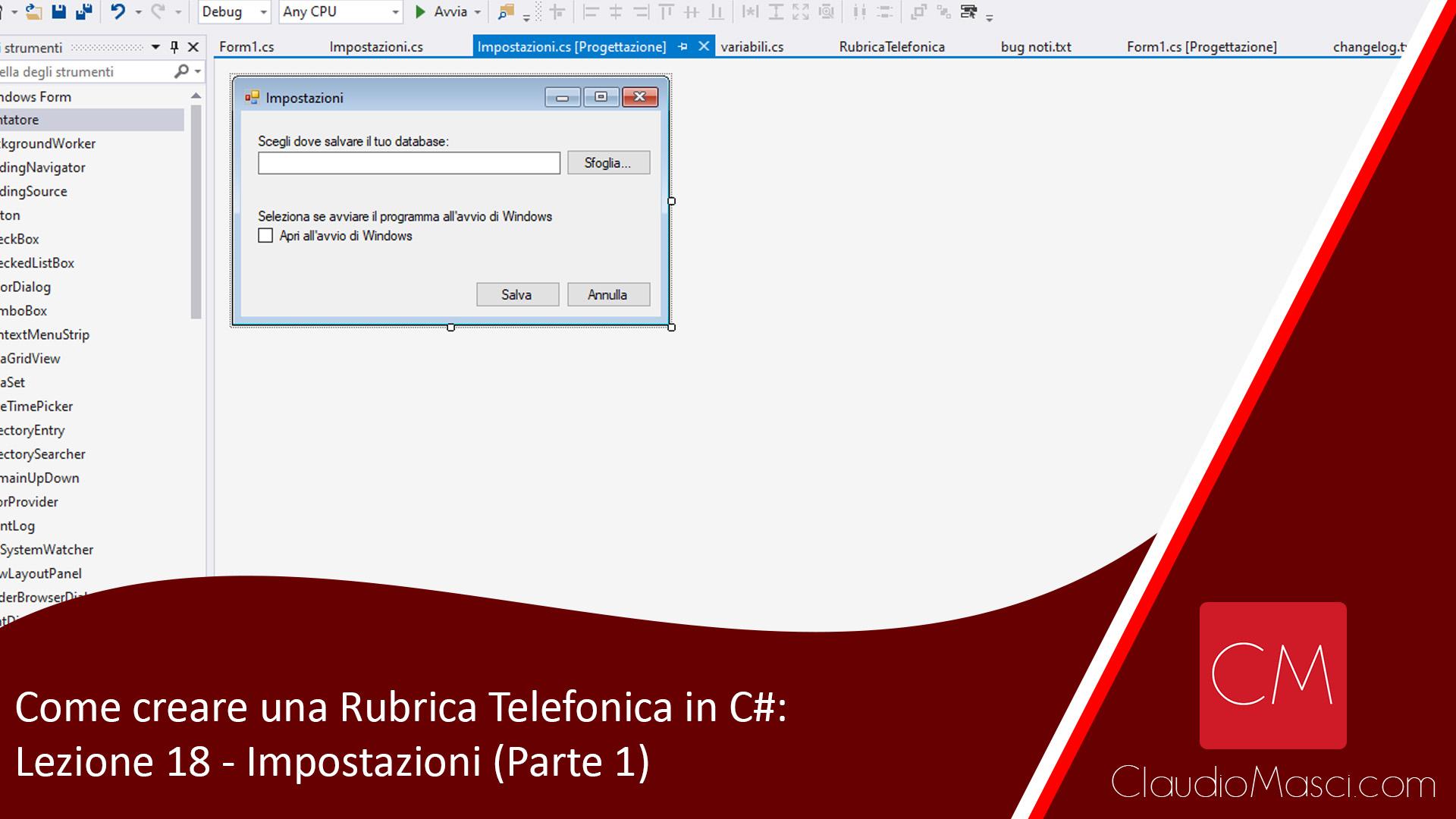 Come creare una Rubrica Telefonica in C# – Lezione 18 – Impostazioni