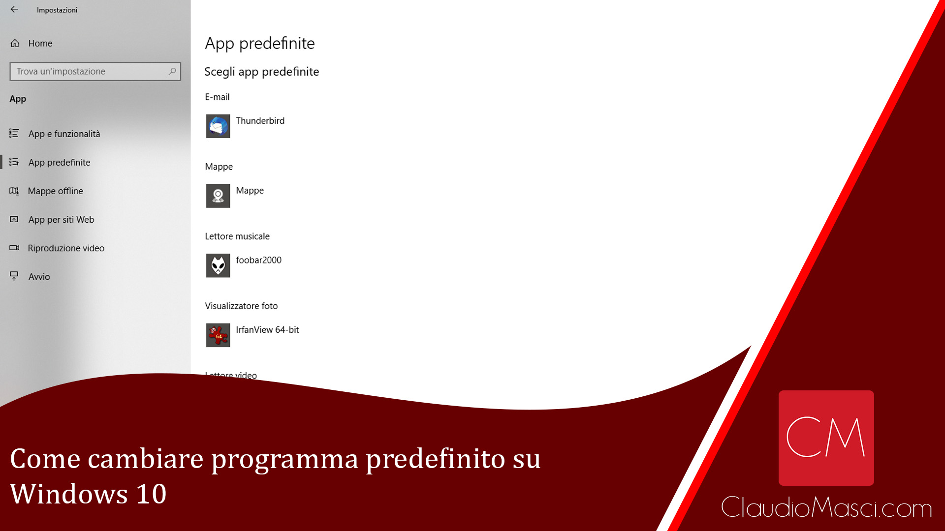 Come cambiare programma predefinito su Windows 10
