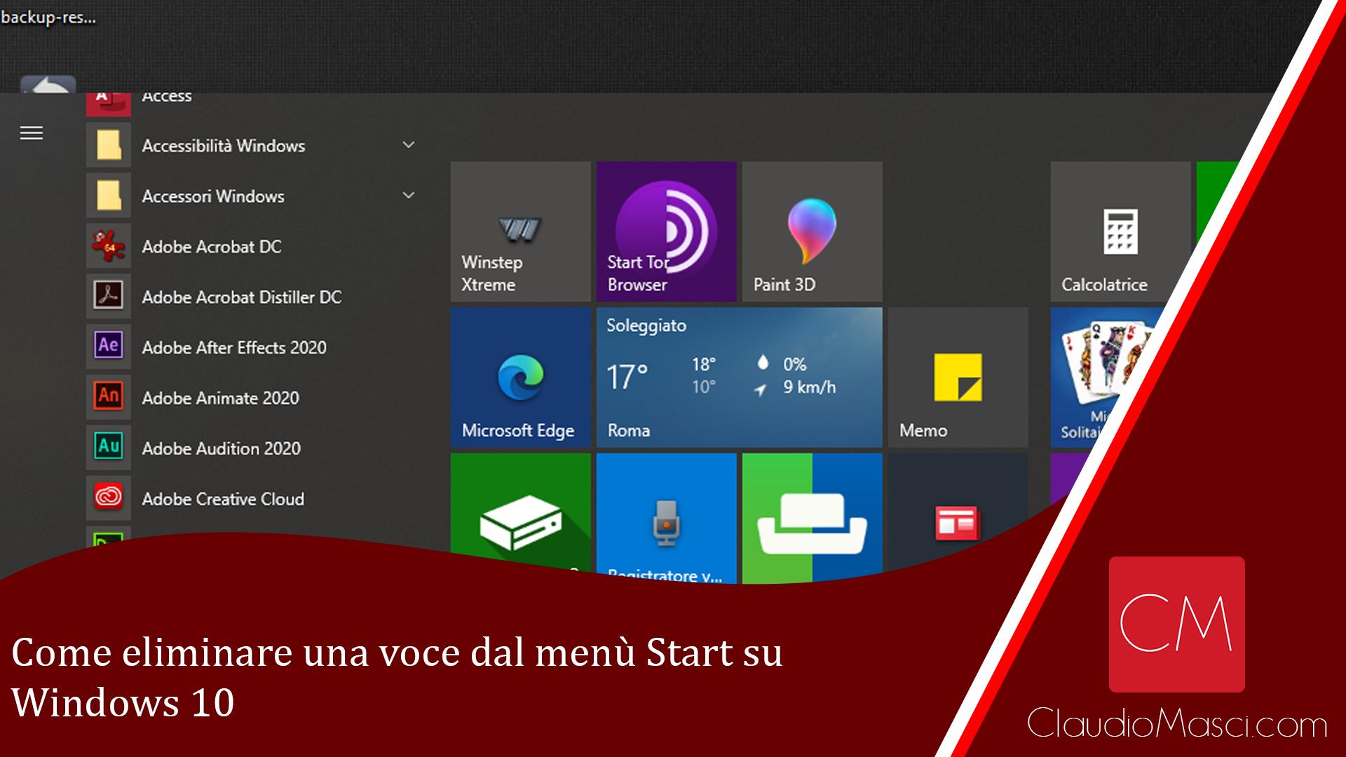Come eliminare una voce dal menù Start su Windows 10