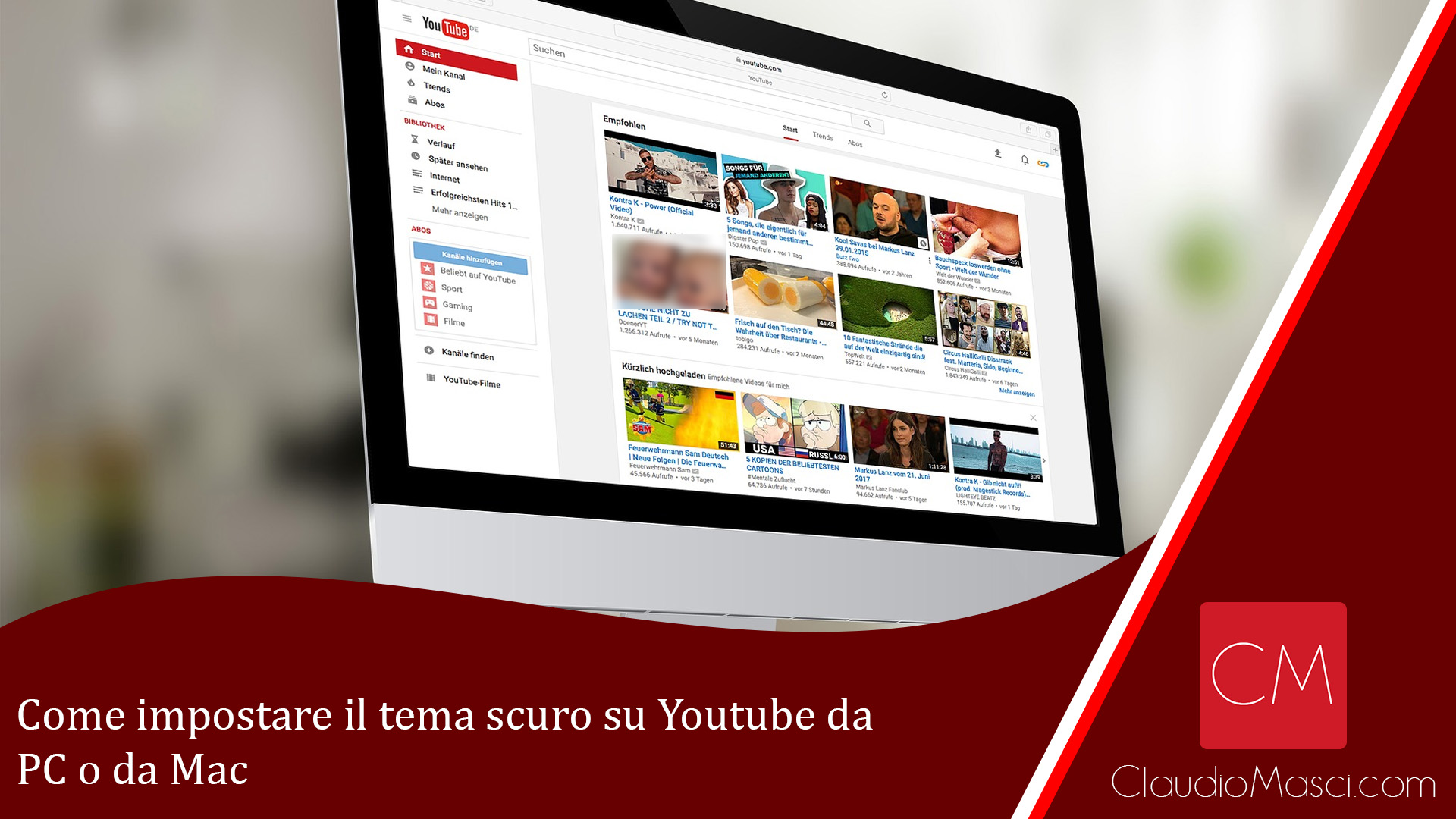 Come impostare il tema scuro su Youtube da PC e Mac